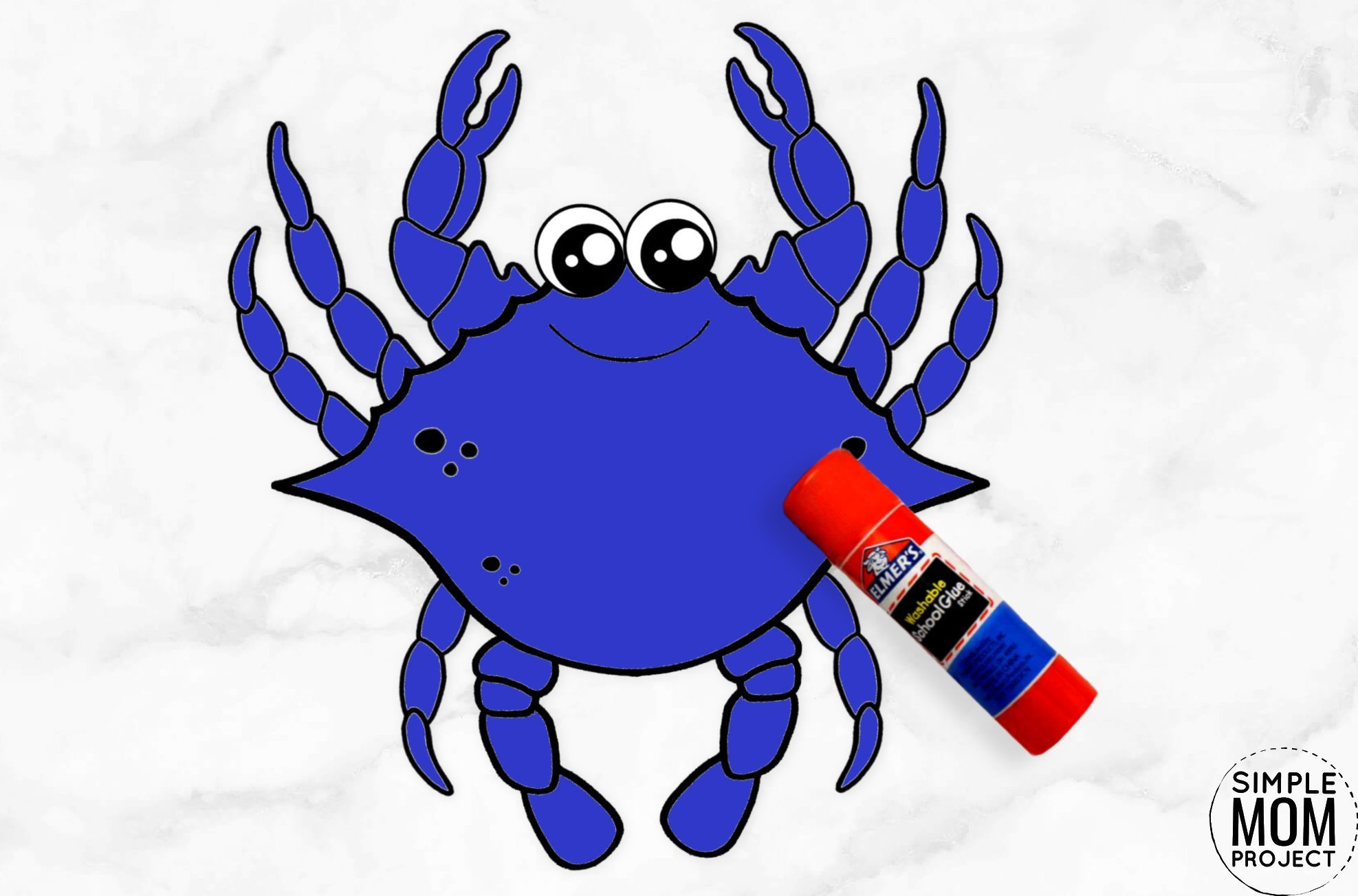 Free Printable Blue Crab Ocean Animal Craft for Kids, preschoolers and toddlers