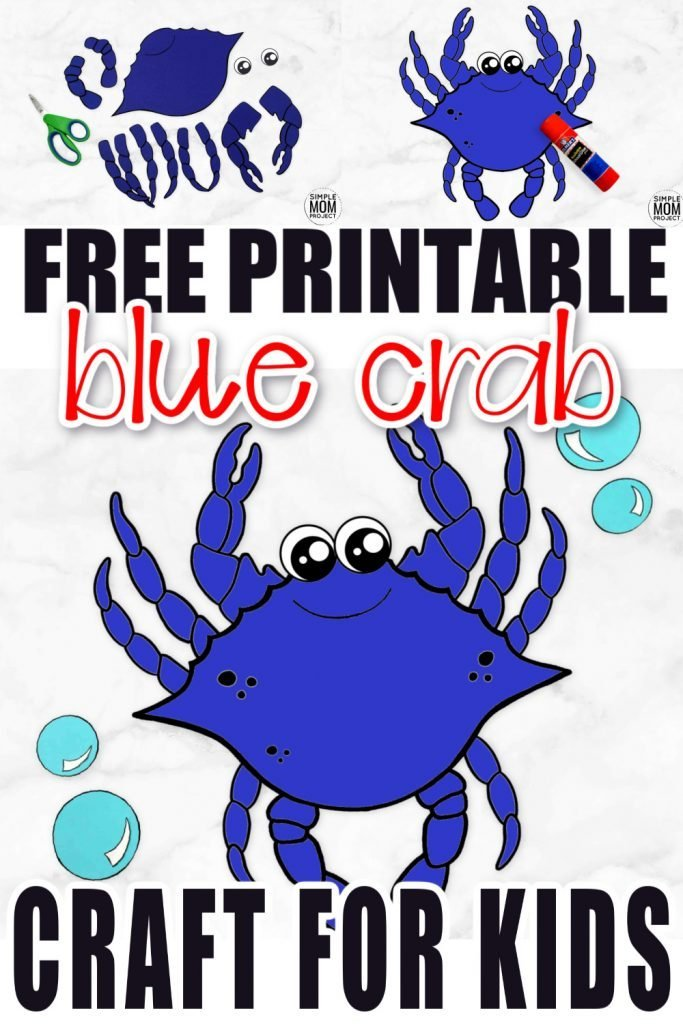 Is your preschooler, toddler, or even kindergartner trying to learn the letter C? Use our free printable crab template to make this easy beach theme friend! This crab craft is so much fun to make and you don't even need a paper plate to make this crab craft! #crab #crabcraft #bluecrabcraft #oceananimal #oceananimalcraft #SimpleMomProject
