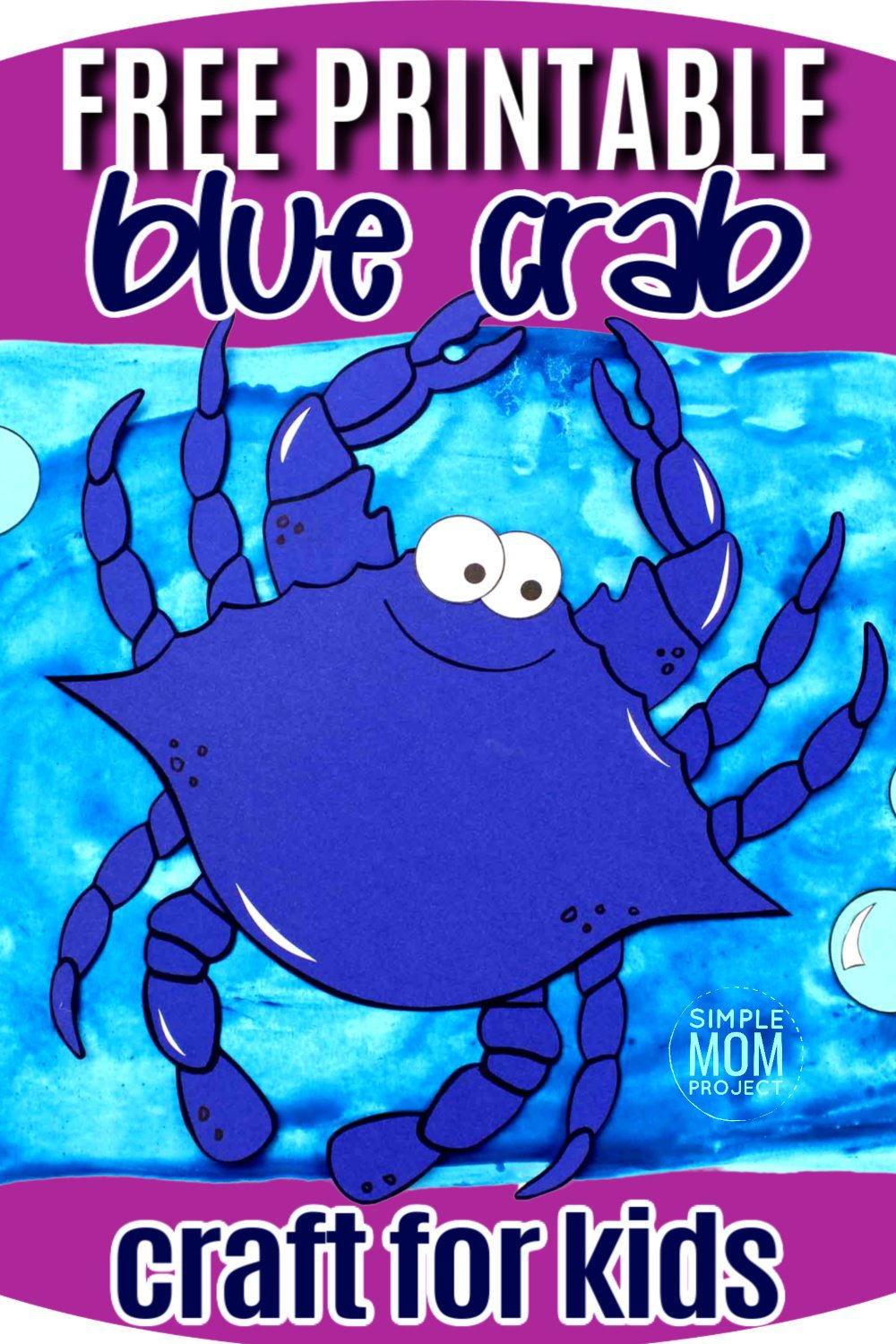 Free Printable Blue Crab Ocean Animal Craft for Kids, preschoolers and toddlers