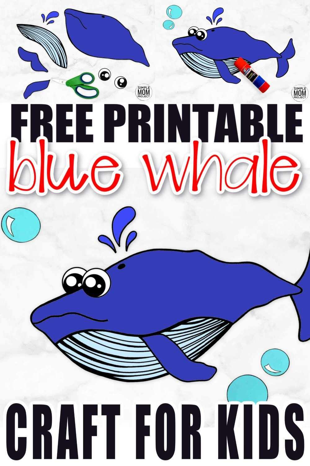Free Printable Blue Whale Craft Ocean Animal Craft for Kids, preschoolers and toddlers