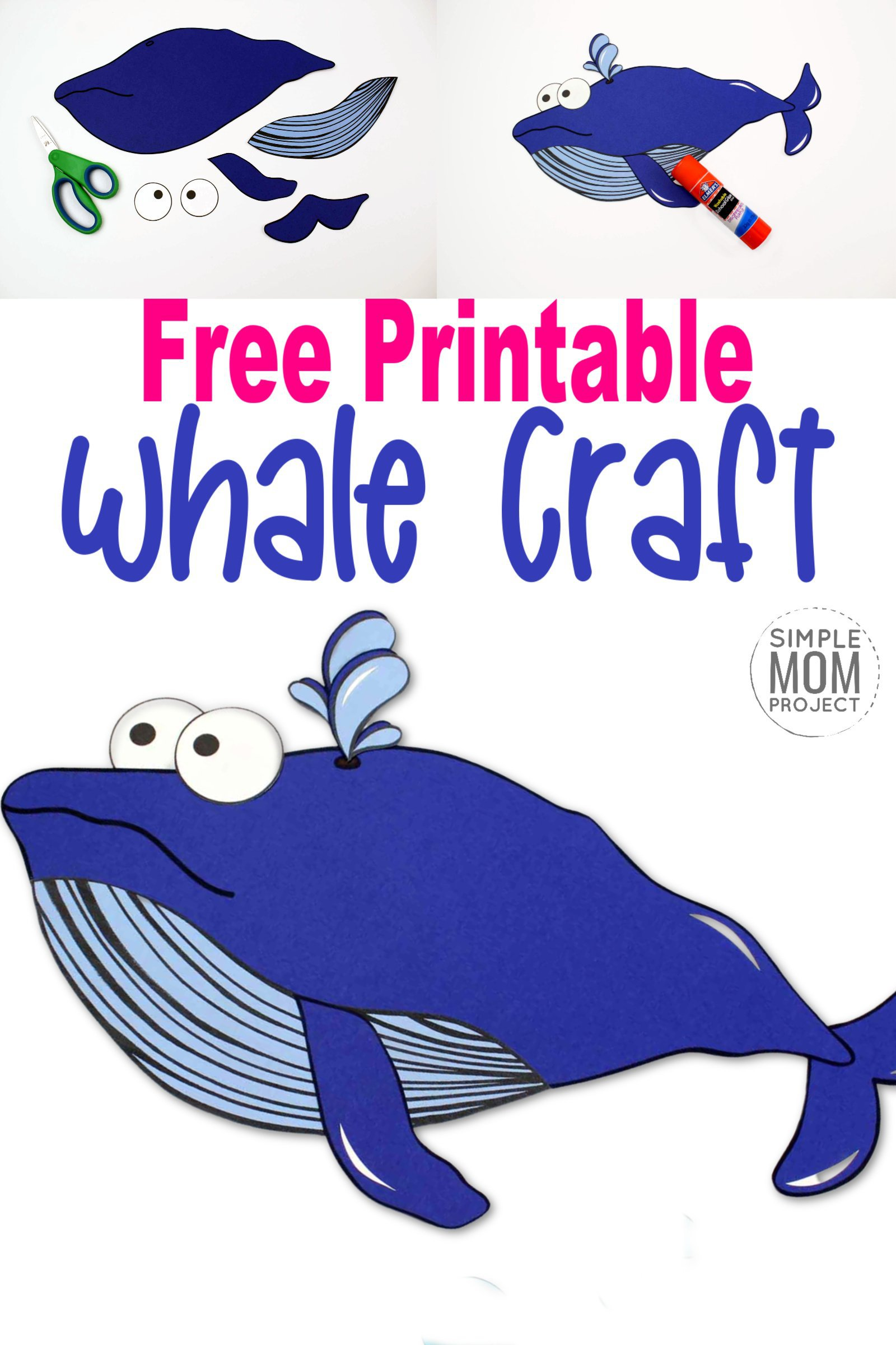 Looking for a fun summer craft or maybe a greeting card for Father's Day? Click now to print the free blue whale template and make this adorable blue whale craft. He is also the perfect whale to teach the bible lesson of Jonah and the Whale! #BlueWhaleCrafts #WhaleCrafts #OceanAnimalCrafts #OceanAnimals #SimpleMomProject