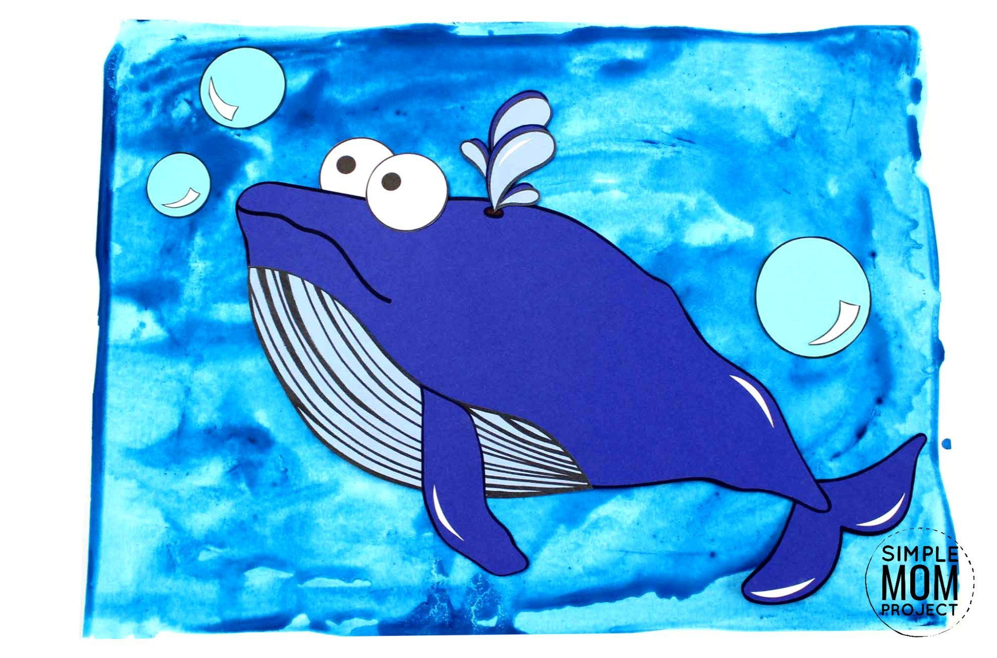 Free Printable Blue Whale Ocean Animal Craft for Kids, preschoolers and toddlers