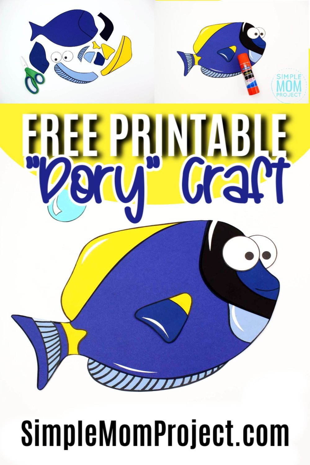 Do you love the movie Finding Nemo? What about Finding Dory? Then you are going to love this paper blue tang fish art project! With a free printable blue tang template, your ocean themed, aquarium craft can begin! She is perfect for kids of all ages including preschoolers and toddlers #bluetang #bluetangcrafts #fishcrafts #dorycrafts #findingnemocrafts #findingdorycrafts #oceananimals #oceananimalcrafts
