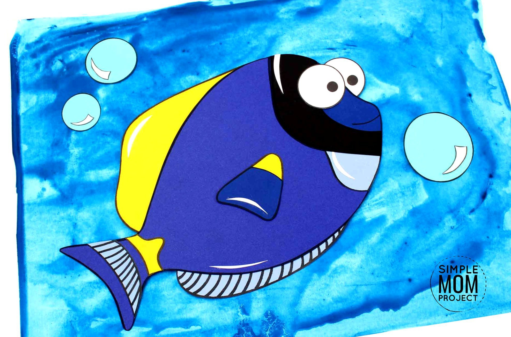 Free Printable Blue Tang Ocean Animal Craft for Kids, preschoolers and toddlers