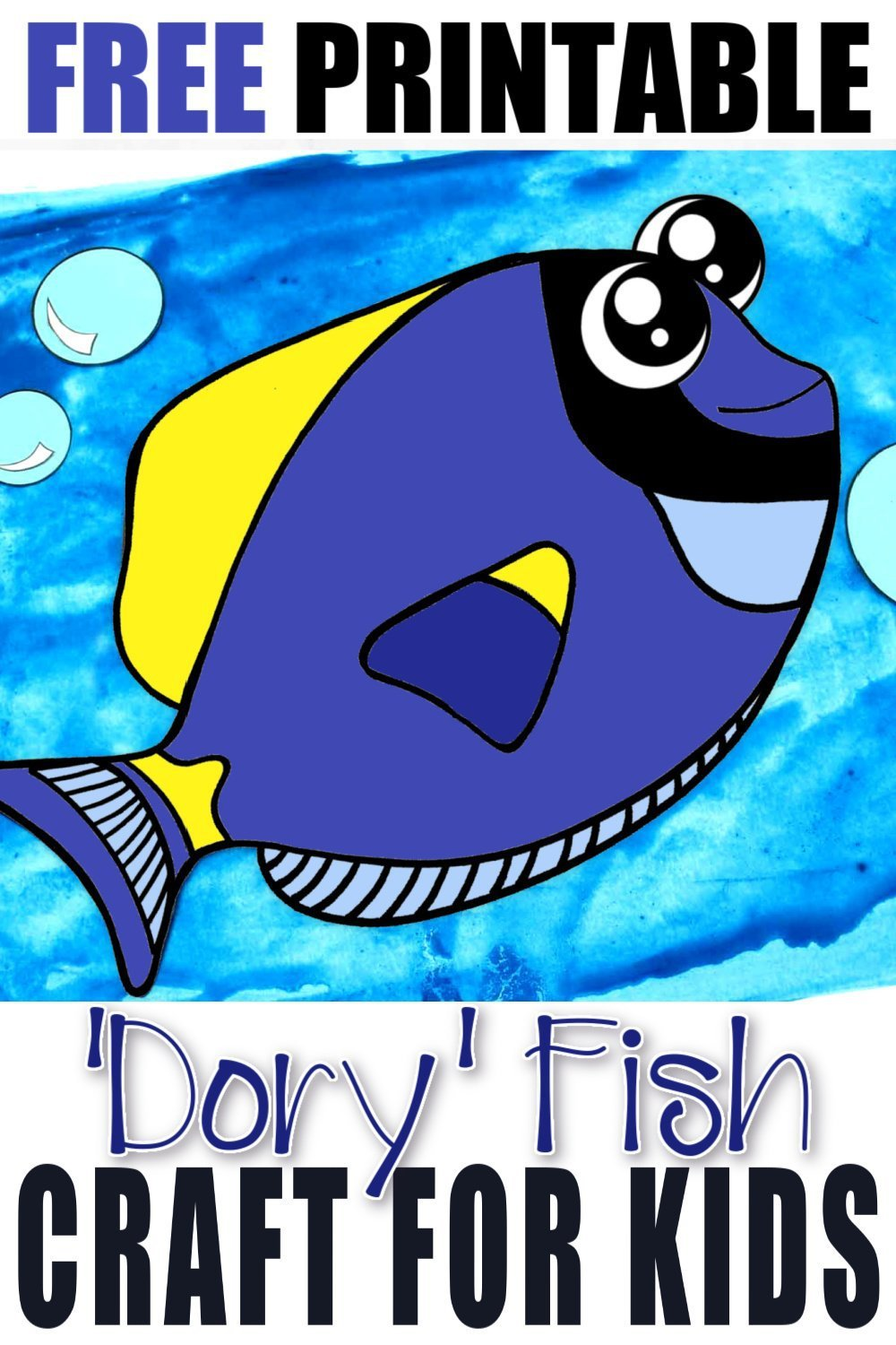 Free Printable Dory Blue Tang Fish Ocean Animal Craft for Kids, preschoolers and toddlers