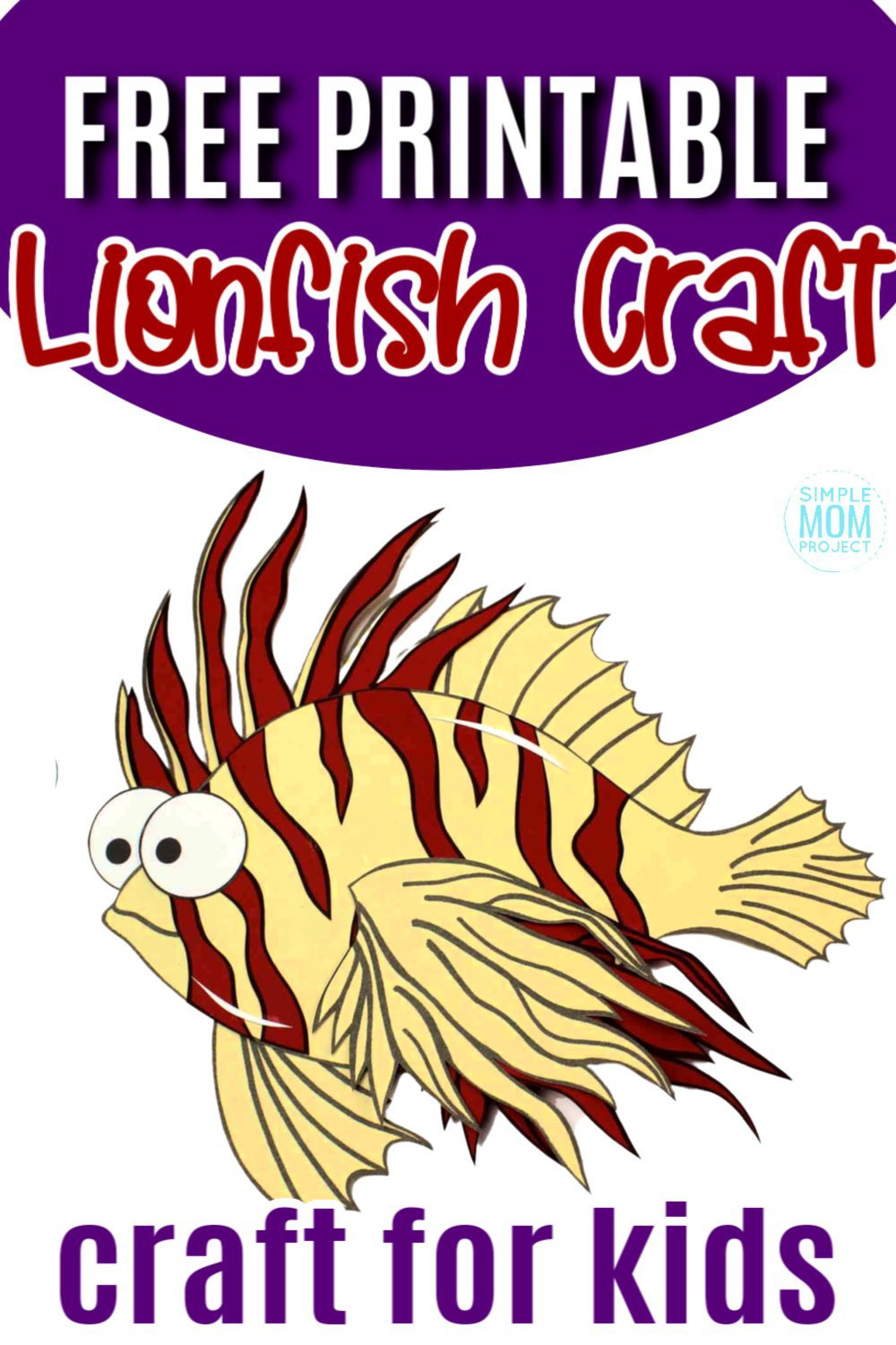 Fish crafts are always perfect for the summer! But what about a lion fish craft? How cool!? Use the free printable lion fish template to make this easy, paper ocean animal friend! He is perfect for kids of all ages including preschoolers and toddlers. #lionfish #lionfishcraft #fishcrafs #oceananimal #oceananimalcrafts