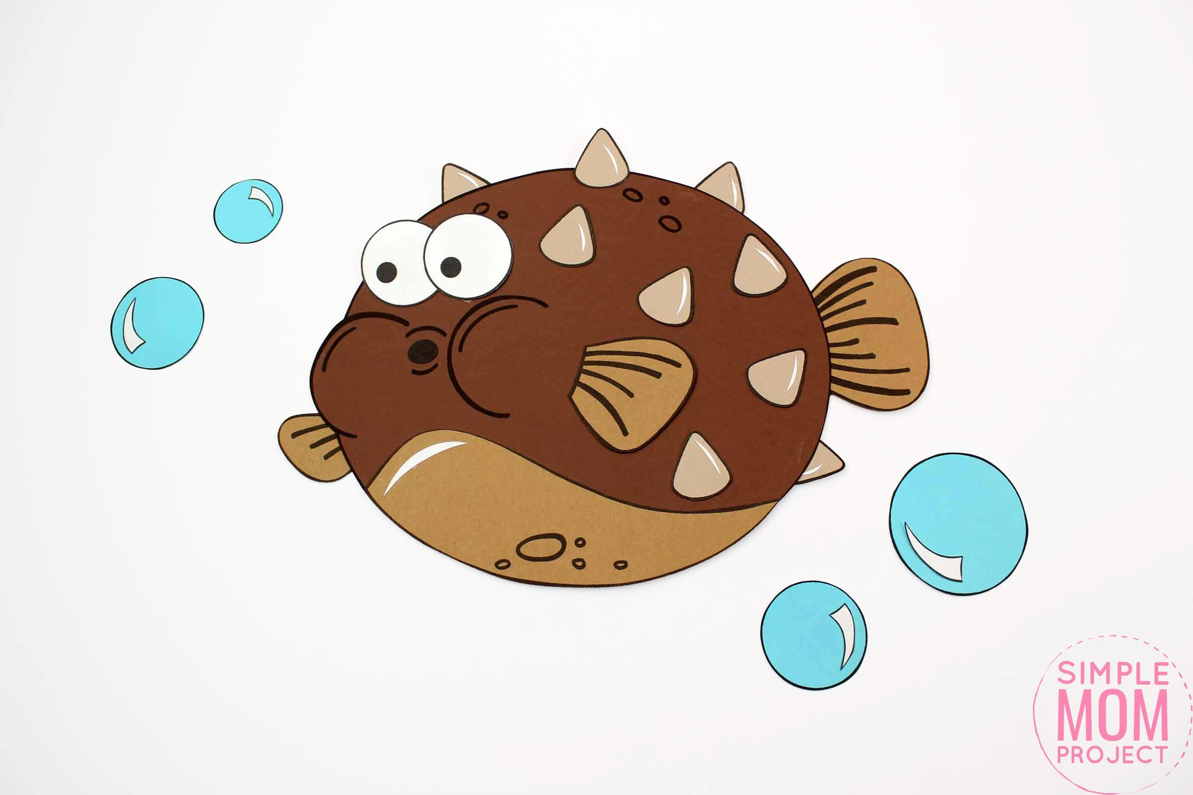 Free Printable Blow Fish Ocean Animal Craft for Kids, preschoolers and toddlers
