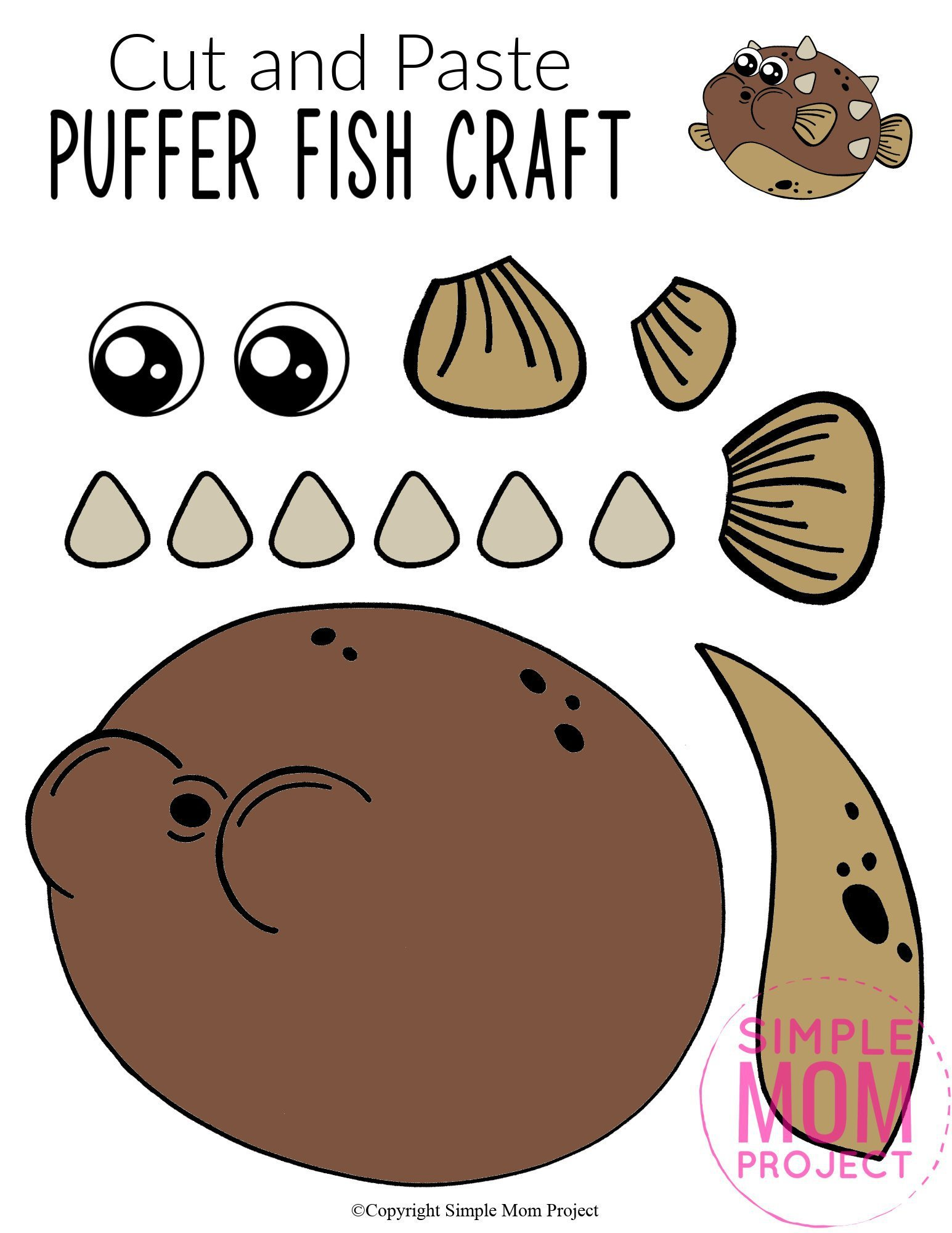 Free Printable Puffer Fish Ocean Animal Craft for Kids, preschoolers and toddlers puffer fish template