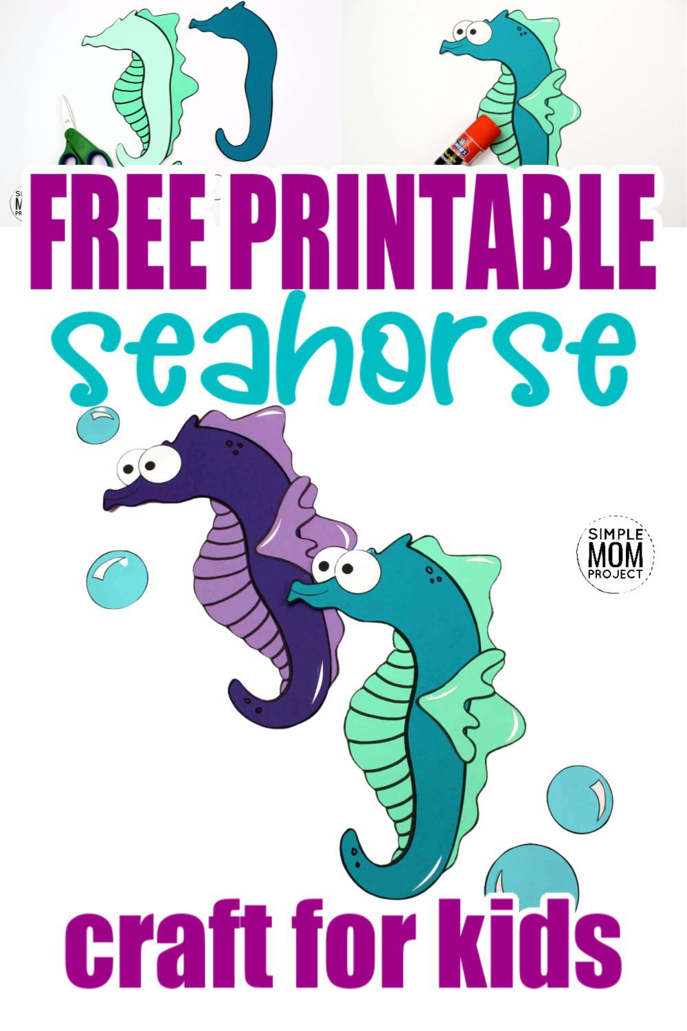 Looking for your next ocean theme preschool craft? Use our free printable seahorse template to make this fun ocean themed arts and craft project. You can even name him Mister Seahorse if you would like! This sea creature is especially fun to make with toddlers and kindergarten age kids too! #seahorse #seahorsecrafts #oceananimals #oceananimalcrafts #SimpleMomProject