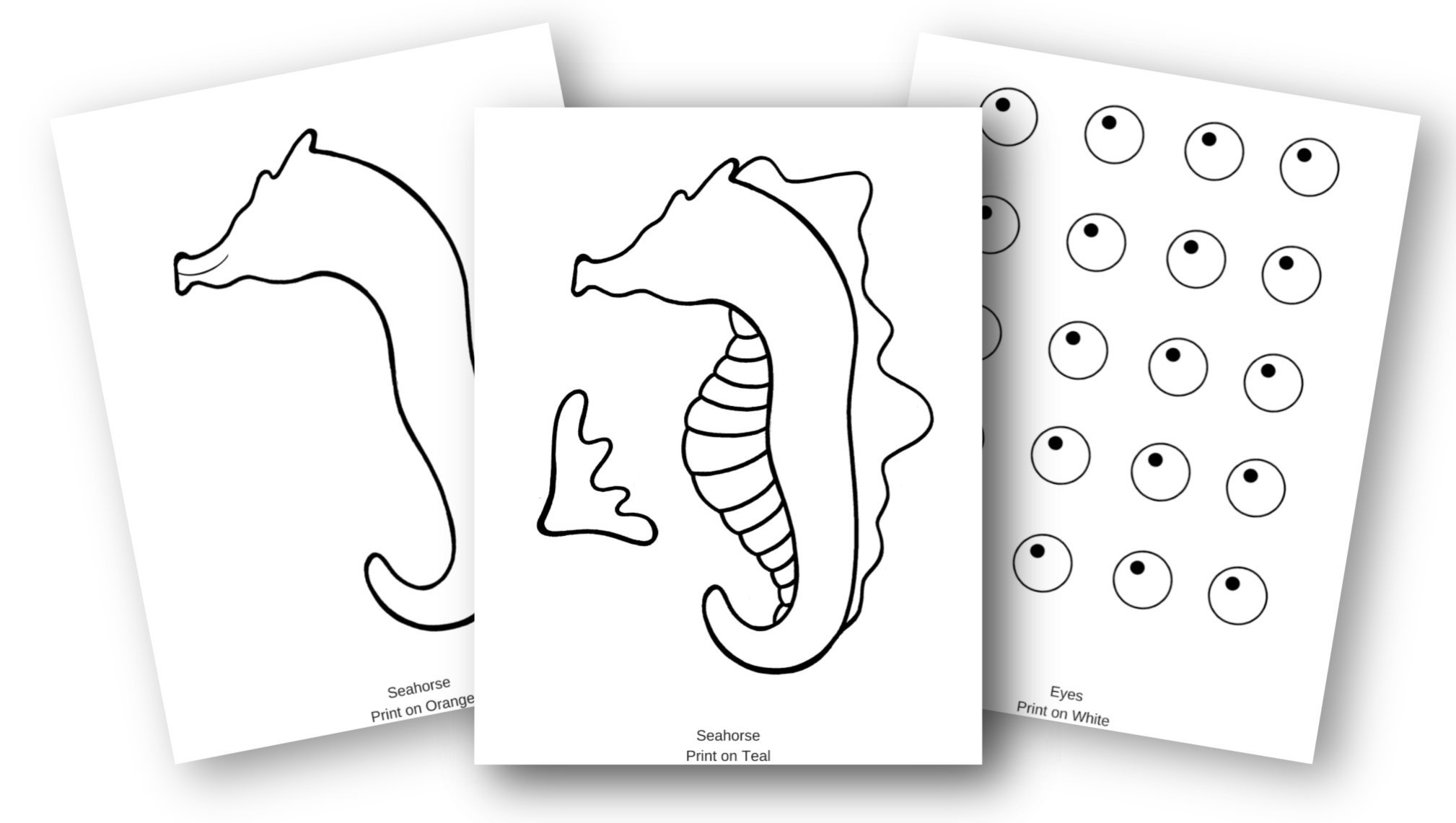 Free Printable Seahorse Ocean Animal Craft for Kids, preschoolers and toddlers