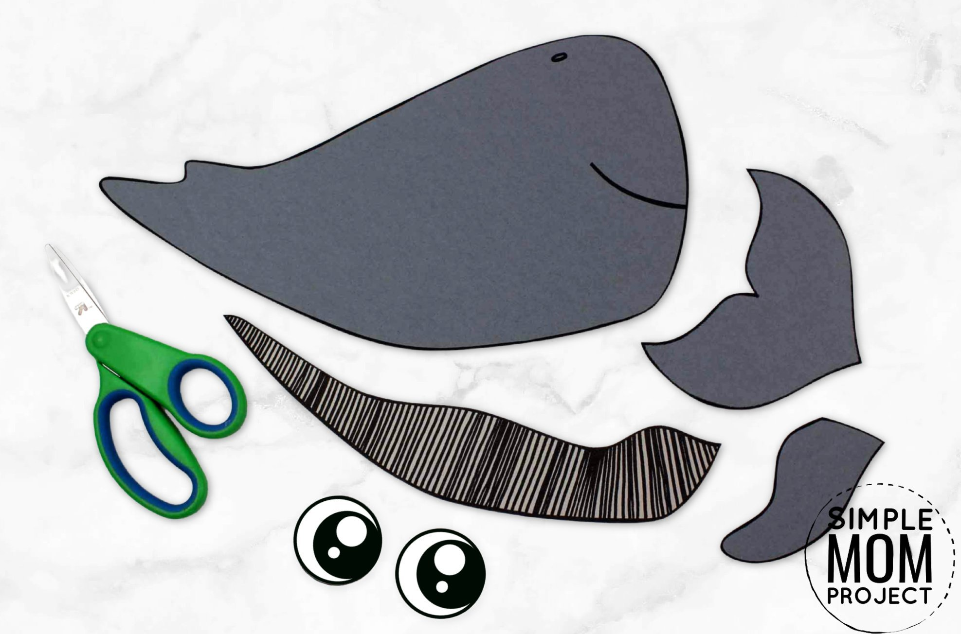 Free Printable Sperm Whale Ocean Animal Craft for Kids, preschoolers and toddlers