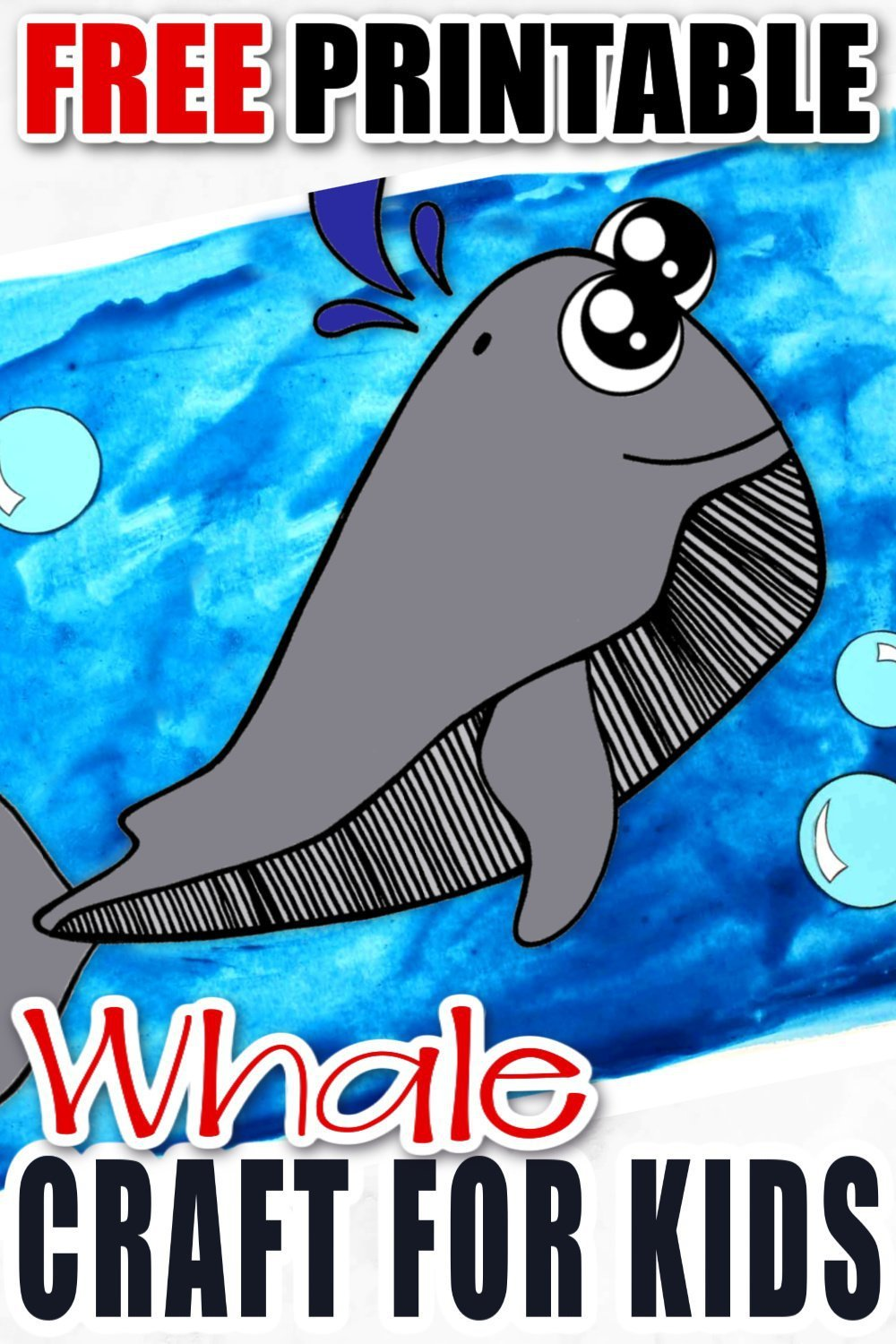 Looking for a fun summer craft or maybe a cute greeting card to cheer someone up? Click now to print this cute whale template and paste together an ocean full of fun! He is perfect for kids of all ages, including preschoolers and toddlers! #whalecrafs #spermwhalecrafts #oceananimals #oceananimalcrafts #simplemomproject