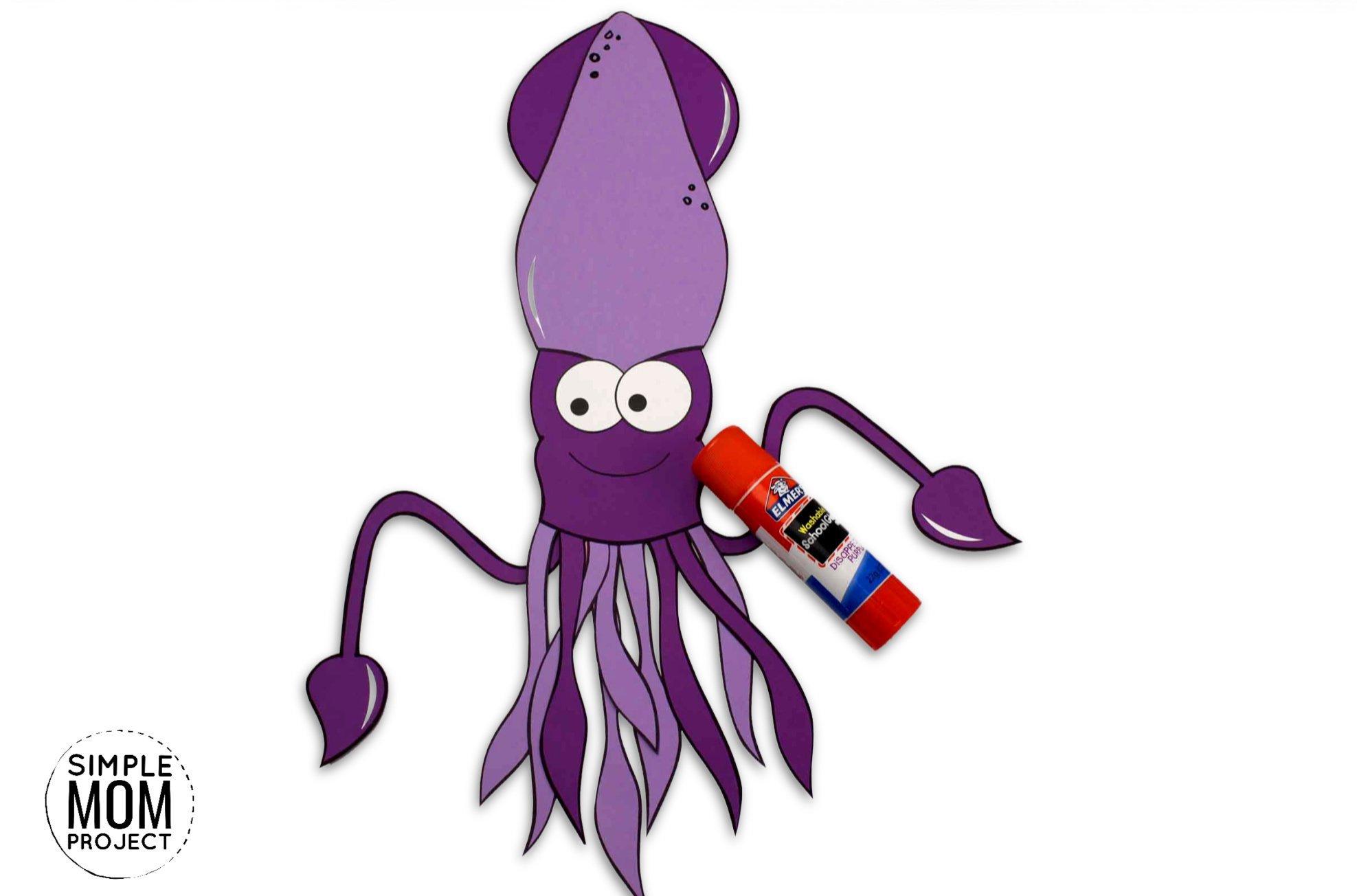 Free Printable Squid Ocean Animal Craft for Kids, preschoolers and toddlers