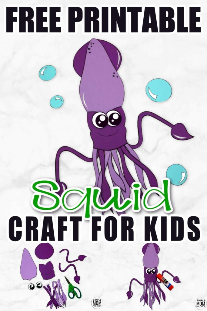 This easy giant squid craft is perfect diy ocean themed craft for kids of all ages including preschoolers and toddlers! Use our free printable squid template and get this paper arts and craft idea started! #squid #squidcraft #oceananimal #oceananimalcrafts #SimpleMomProject