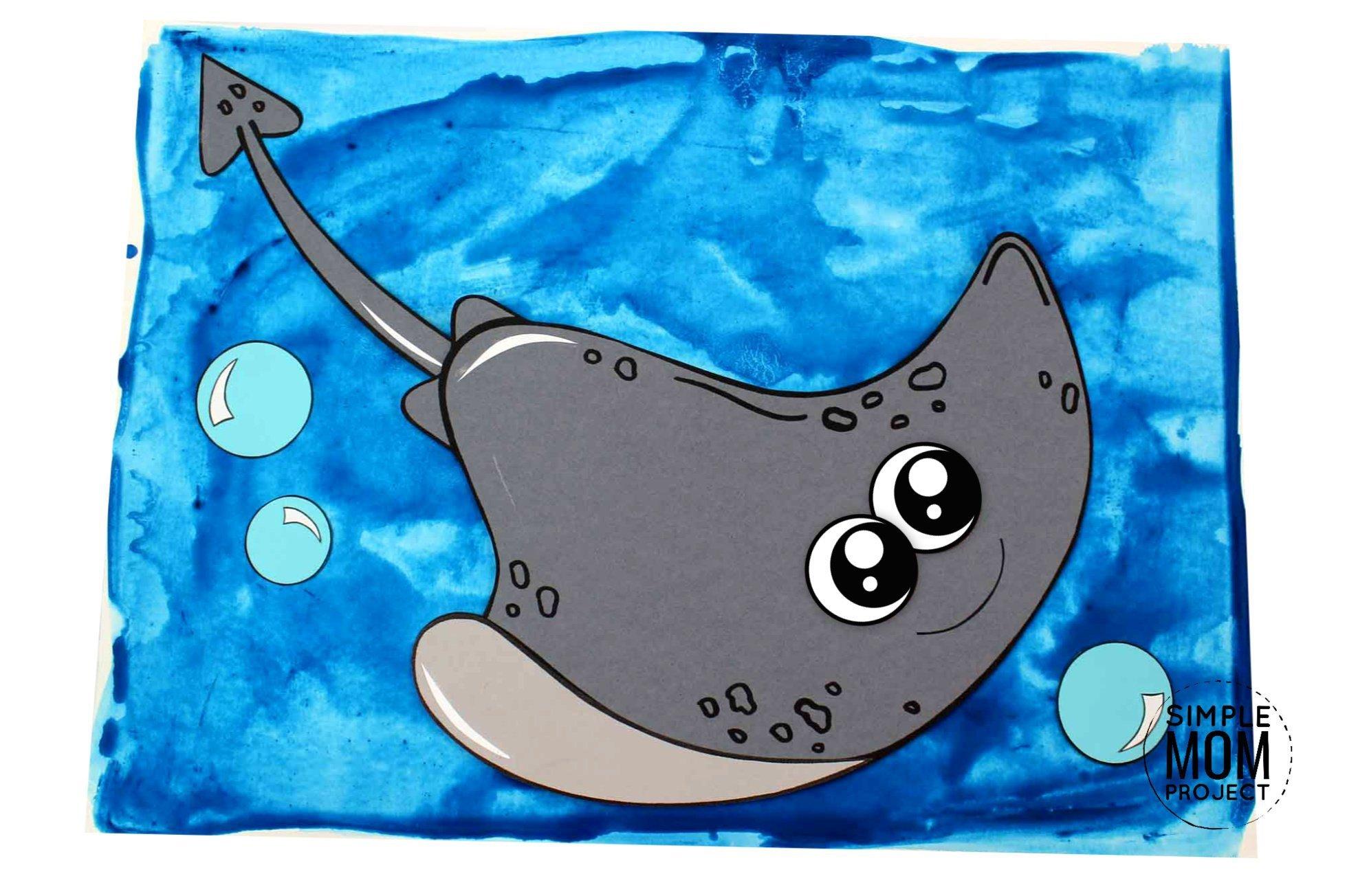 Free Printable Stingray Ocean Animal Craft for Kids, preschoolers and toddlers