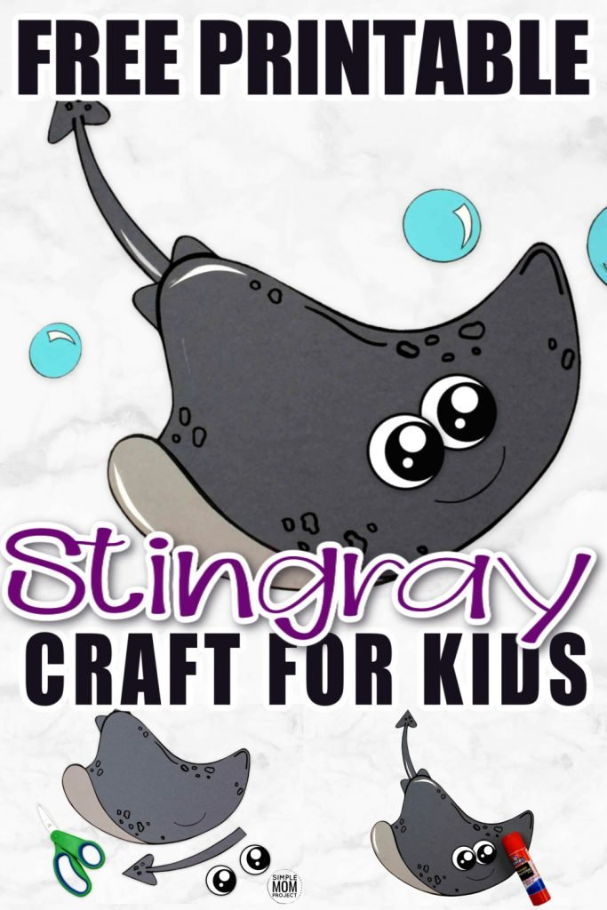 Looking for your next ocean theme craft? Use our free printable stingray template and make this simple stingray craft! Click and find the tutorial to make this fun kids craft. This cut and paste stingray craft is perfect for kids of all ages including preschoolers and toddlers #stingray #stingraycrafts #oceananimals #oceananimalcrafts