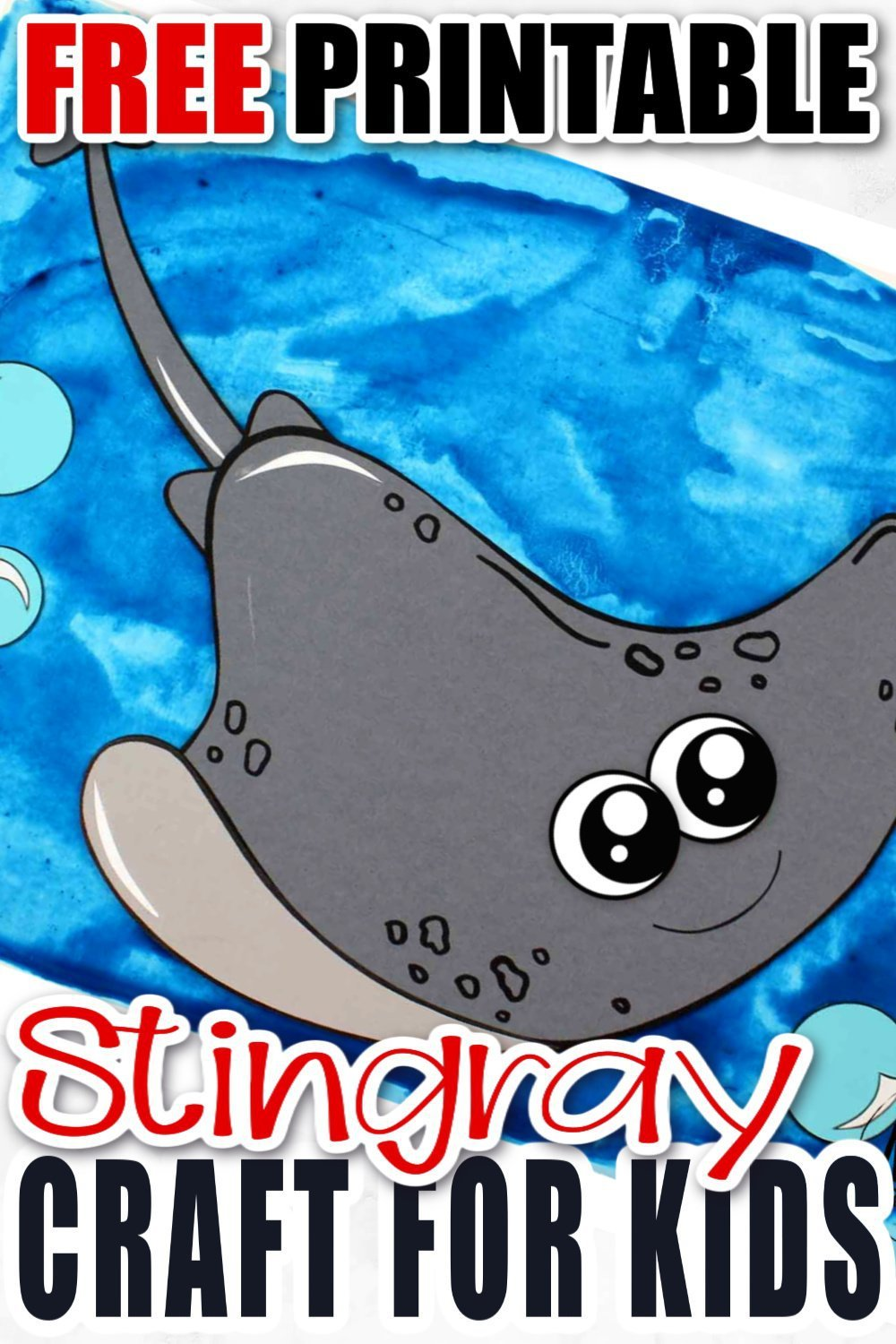 Looking for your next ocean theme or vbs craft? Use our free printable stingray template and make this simple stingray craft! Click and find the tutorial to make this fun kids craft. This cut and paste stingray craft is perfect for kids of all ages including preschoolers and toddlers #stingray #stingraycrafts #vbscrafts #oceananimals #oceananimalcrafts
