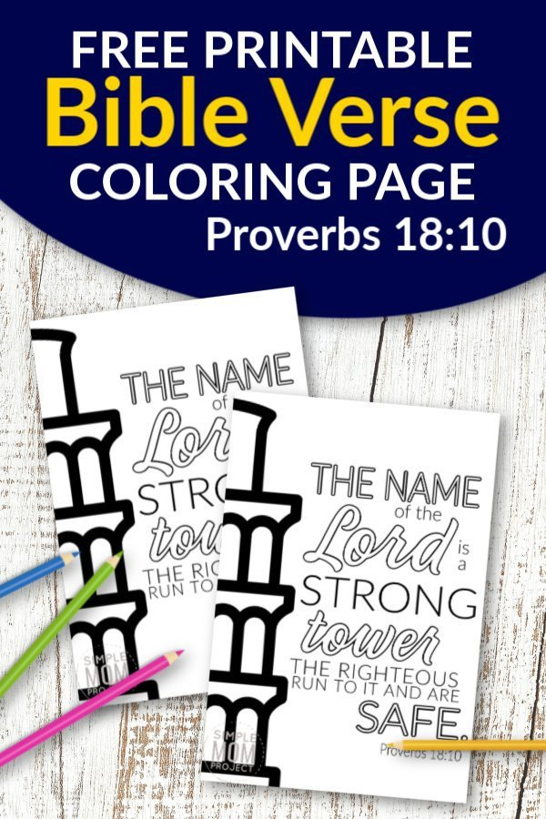 Proverbs 18 10 The name of the Lord is strong Free Printable Bible Verse Coloring page for adults and kids