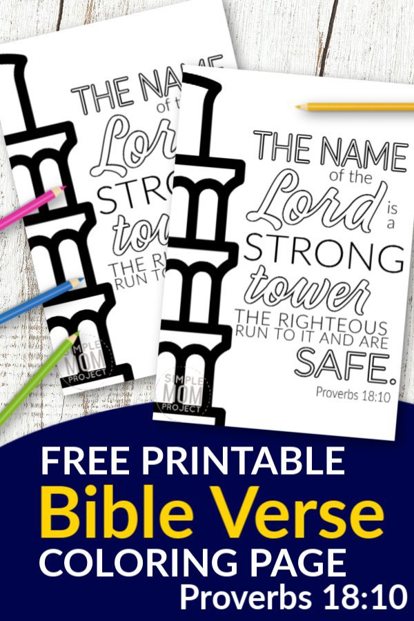 Don't you know the best quotes come from Scripture? Use these free printable bible verse coloring pages to get inspired about God. He is after all our salvation. This Proverbs 18:10 coloring sheet is great for kids and adults, even preschoolers. They are perfect for wall decor or even a quick gift idea! #bibleverse #bibleversecoloring #scripturecoloring #biblejournaling