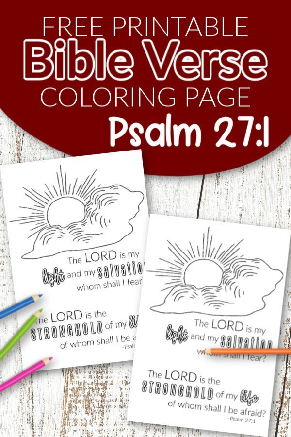 Psalm 27 1 The Lord is my Salvation Free Printable Bible Verse Coloring page for adults and kids