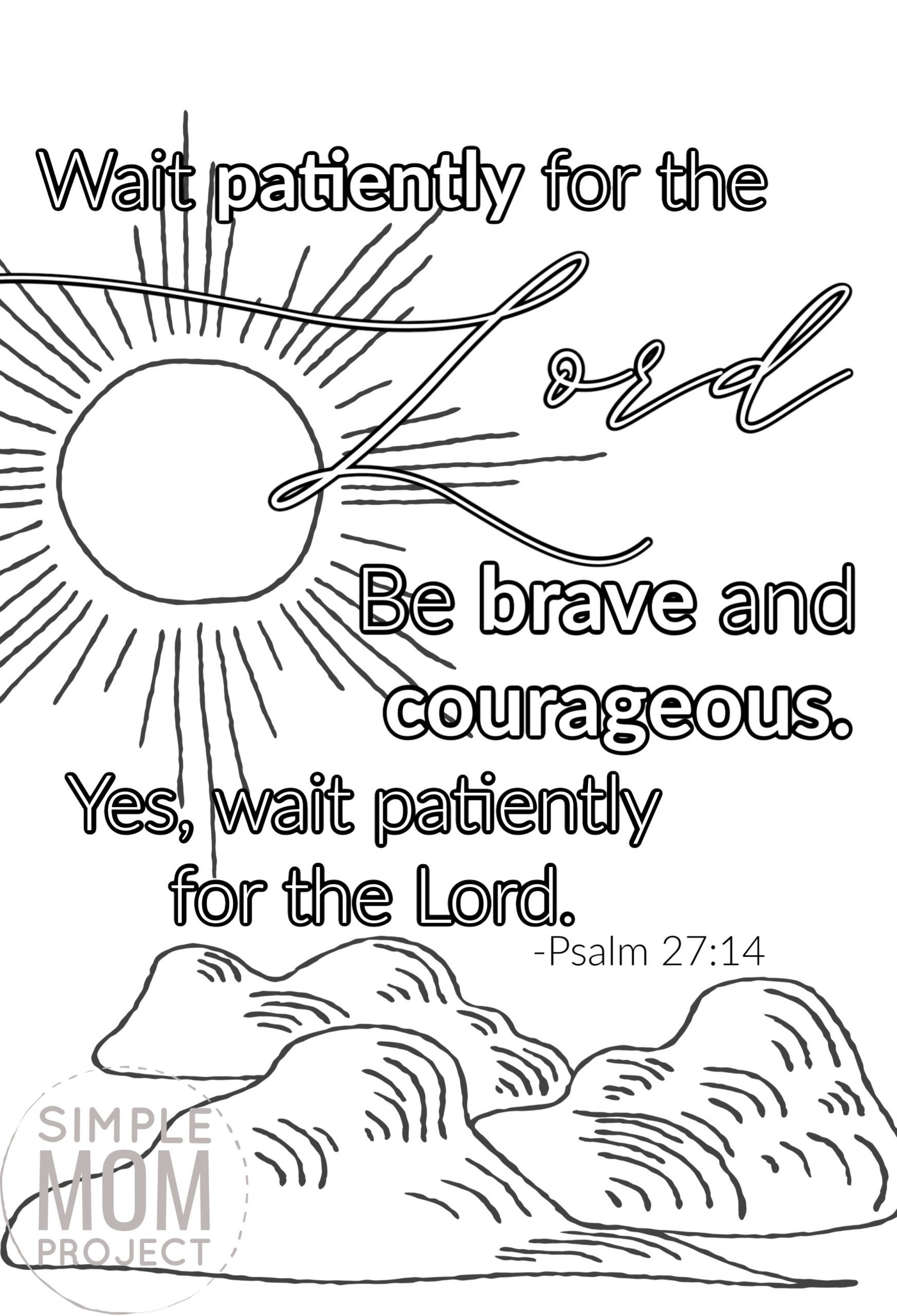 Psalm 27 14 Wait patiently for the Lord Free Printable Bible Verse Coloring page for adults and kids