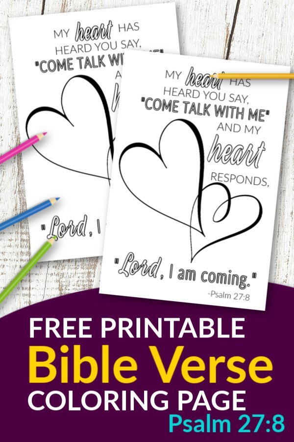 Don't you know the best quotes come from Scripture? Use these free printable bible verse coloring pages to get inspired about God. He is after all our salvation. This Psalm 27:8 coloring sheet is great for kids and adults, even preschoolers. They are perfect for wall decor or even a quick gift idea! #bibleverse #bibleversecoloring #scripturecoloring #biblejournaling