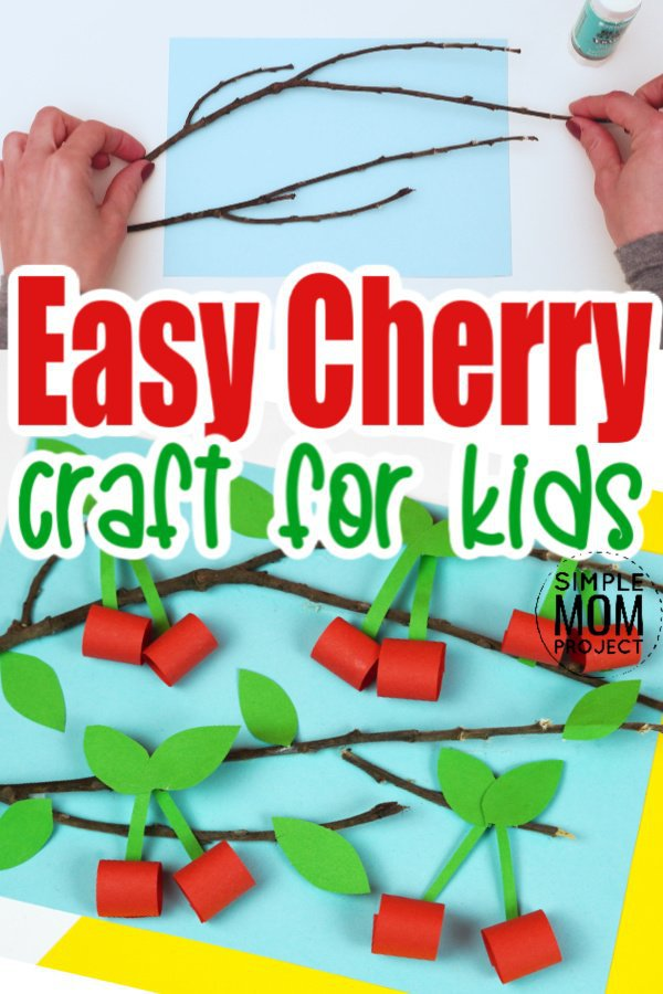 Looking for an easy spring or summer craft for kids? Click now to find the step by step tutorial for this paper fruit cherry craft idea. This adorable handmade cherry blossom craft is perfect for kids of all ages including preschoolers, toddlers and kindergartners #cherrycrafts #fruitcrafts #SimpleMomProject