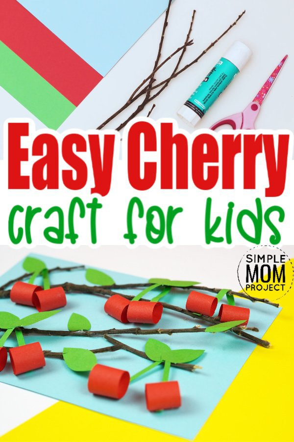 Easy Diy Cherry Craft for kids, preschoolers and toddlers