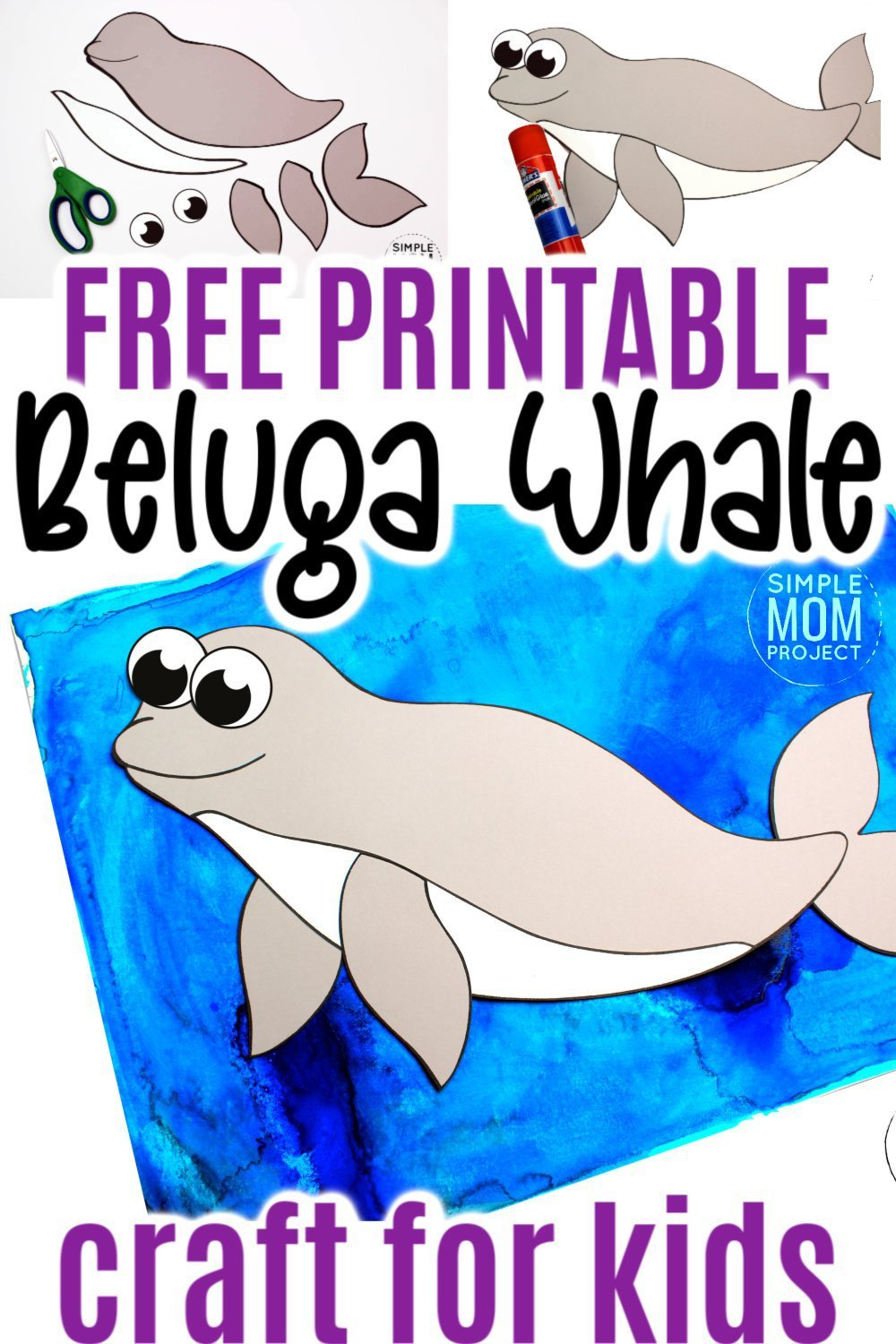 This easy beluga whale craft is fun for kids of all ages including preschoolers and kindergartners! With the free printable beluga whale template, these make the perfect lesson when teaching of whales #belugawhalecrafts #whalecrafts #oceananimals #arcticanimalcrafts #SimpleMomProject