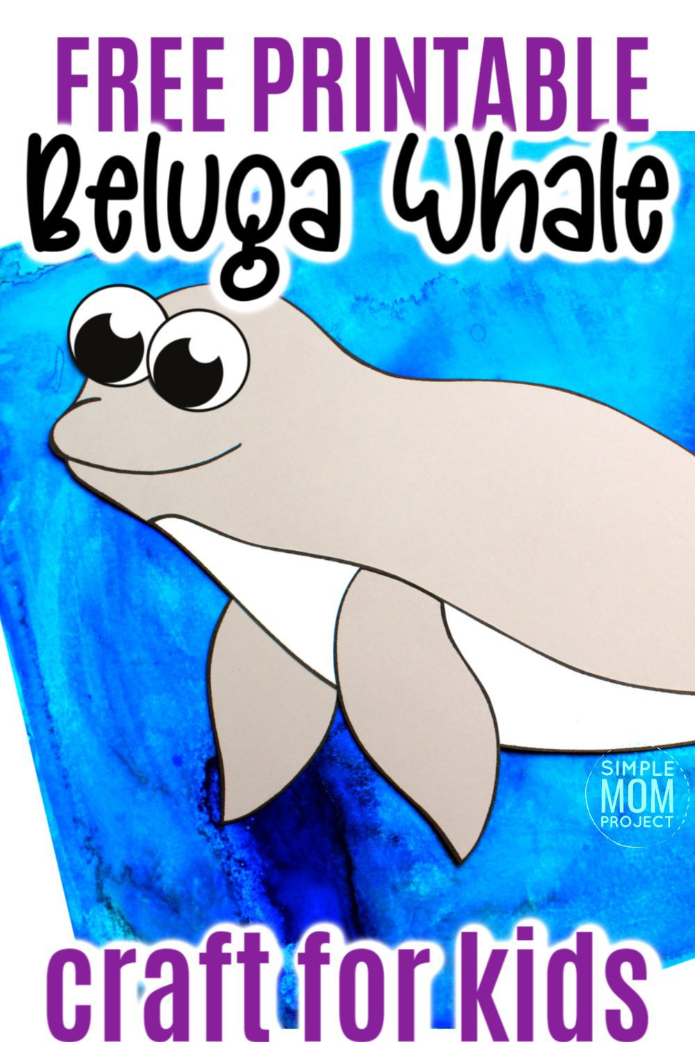Free Printable Arctic Animal Beluga Whale Craft for Kids Preschoolers and Toddlers