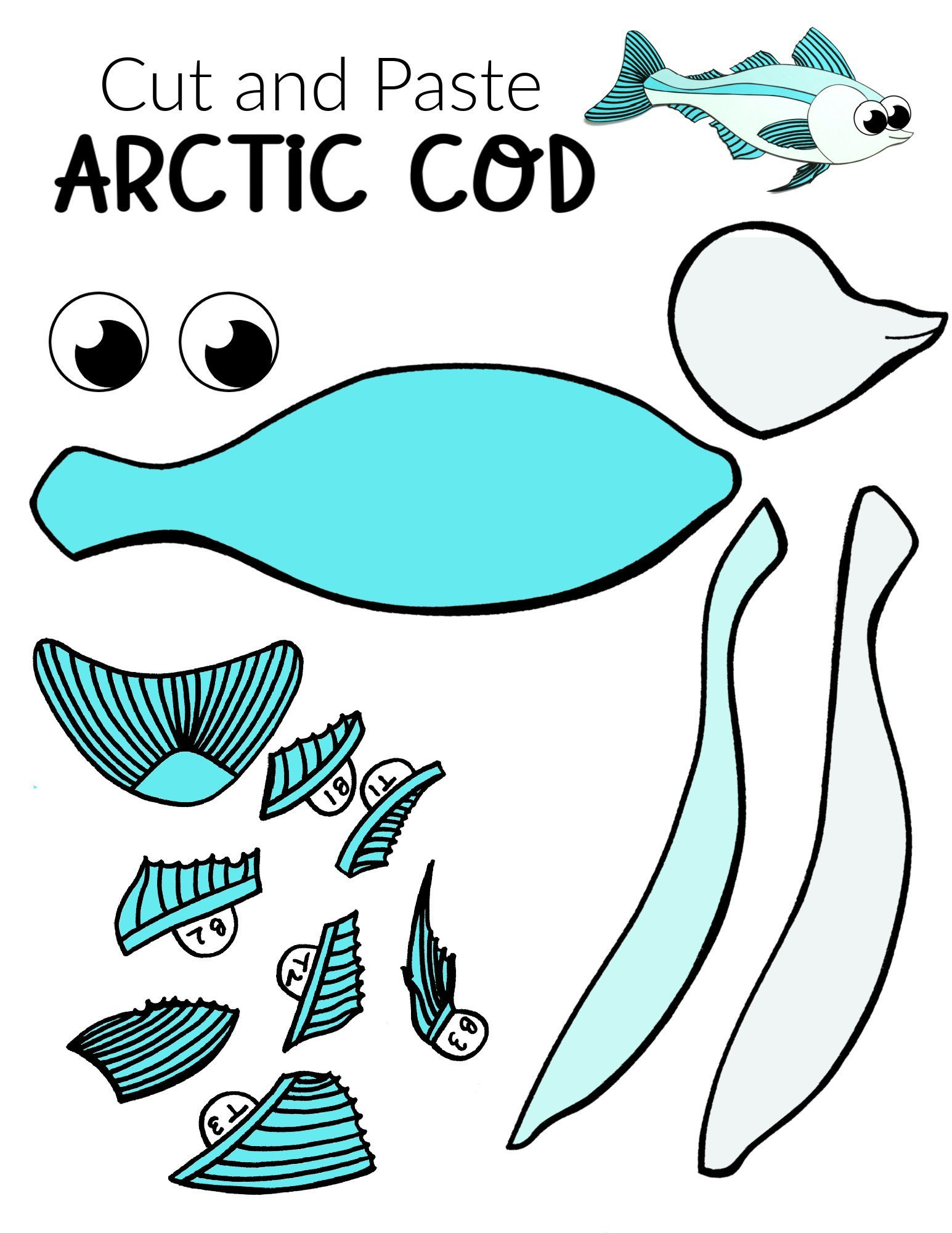 Free Printable Arctic Animal Cod Fish Craft for Kids Preschoolers and Toddlers
