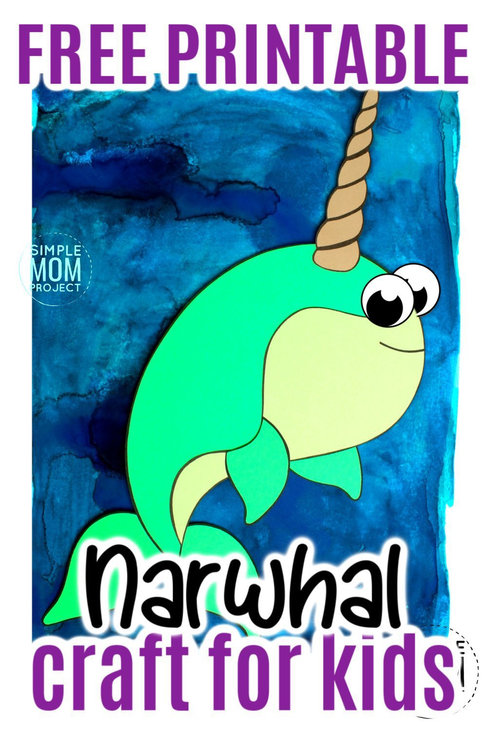 Free Printable Arctic Animal Narwhal Craft for Kids Preschoolers and Toddlers
