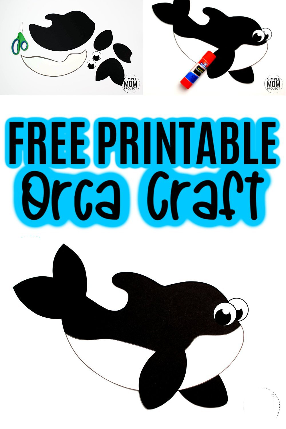 Free Printable Arctic Animal Orca Craft for Kids Preschoolers and Toddlers