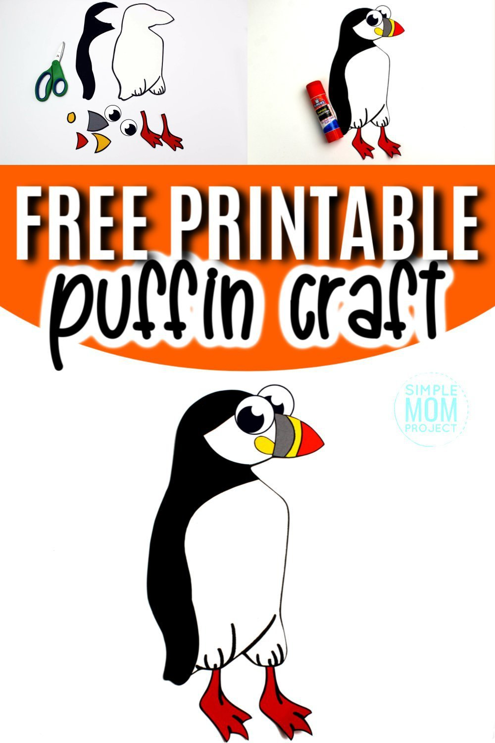 Looking for an easy Atlantic or arctic puffin rock craft? Use the free printable puffin template to make this easy preschool winter craft! He is perfect for kids of all ages including toddlers and kindergartners. #puffin #puffincrafts #arcticanimals #arcticanimalcrafts