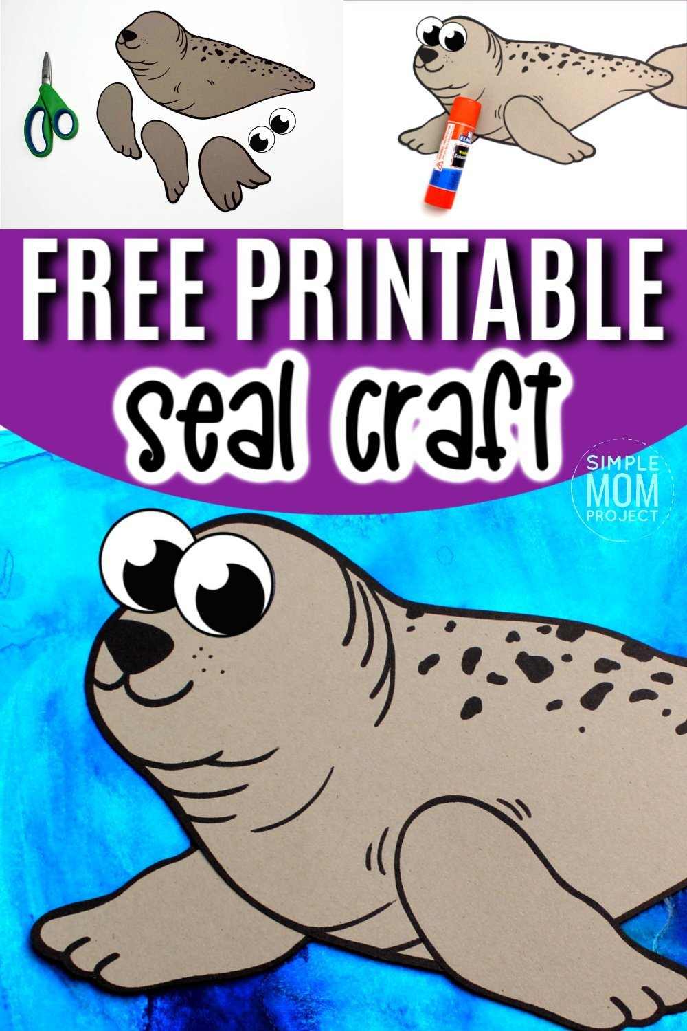 Are you teaching the letter S to your preschooler? Use our free printable ringed seal template to make this easy paper seal craft! This arctic animal sea craft can be turned into a great felt project or a fun seal puppet! #seal #sealcrafts #arctianimal #arcticanimalcrafts