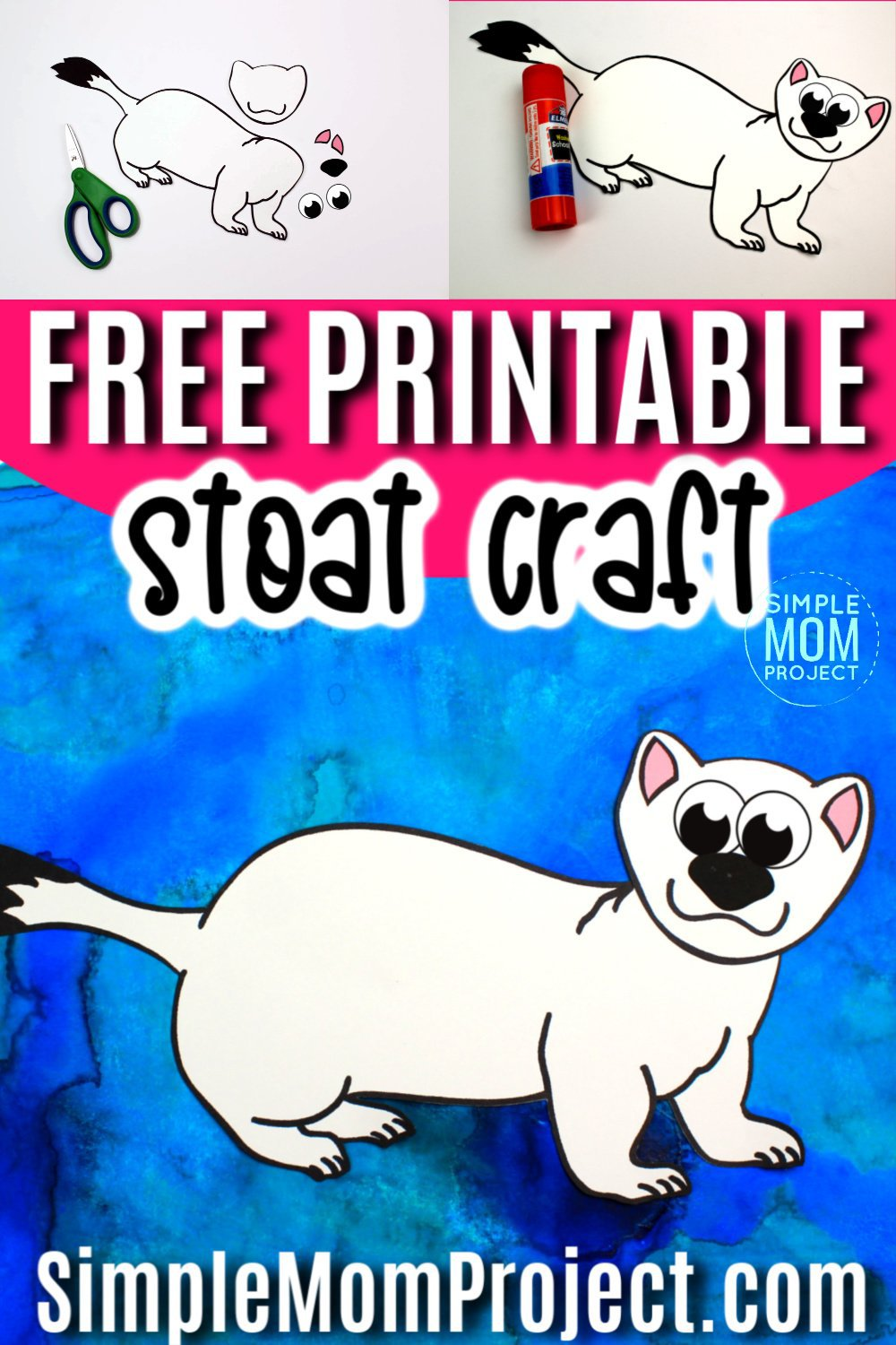 Free Printable Arctic Animal Stoat Craft for Kids Preschoolers and Toddlers