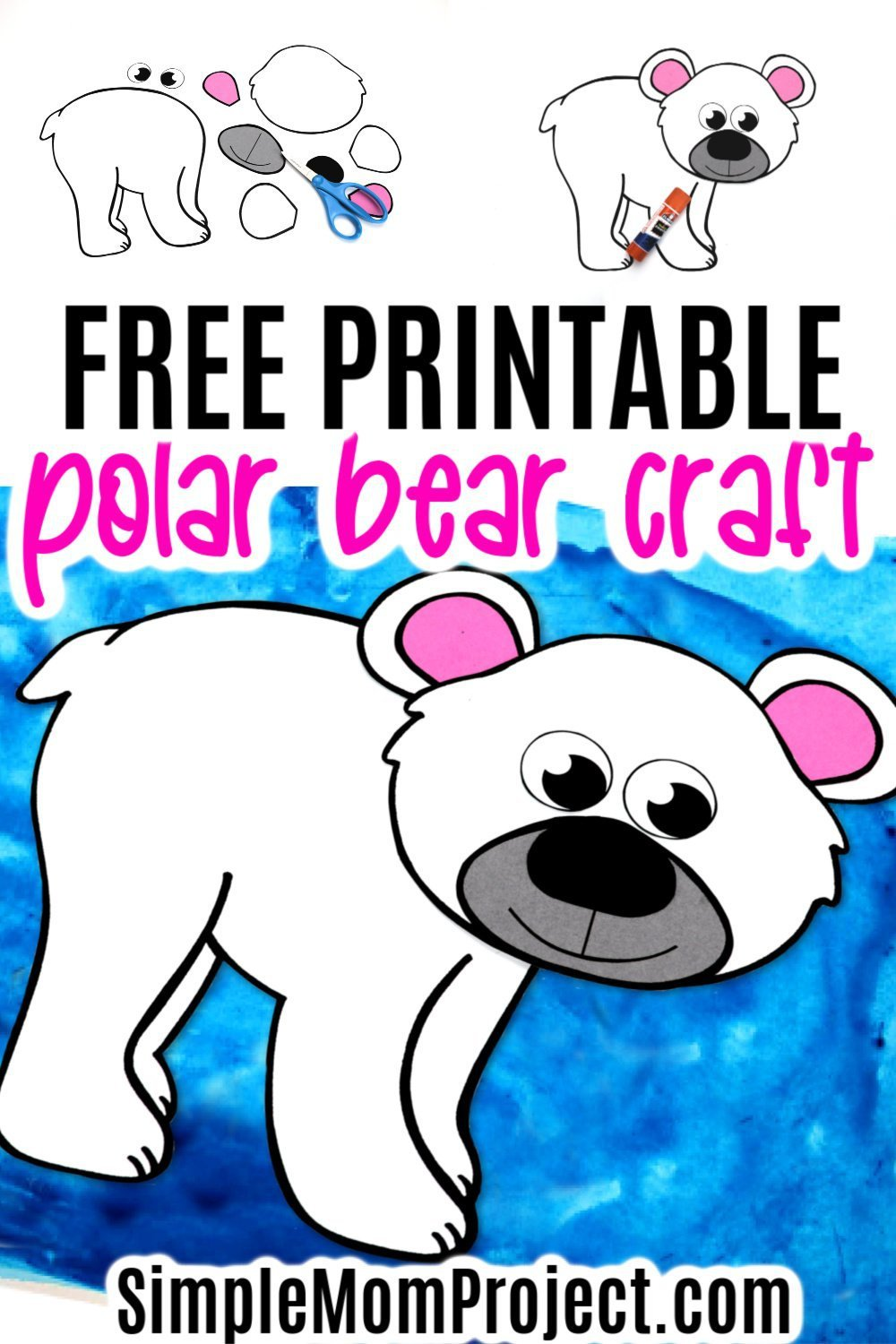 Looking for a fun and easy arctic animal craft idea to do with your preschooler this winter? Click to get this free printable polar bear template to make this cut out polar bear craft! With the step-by-step tutorial, this cute polar bear craft is perfect for kids of all ages, including preschoolers, toddlers and kindergartners! #polarbears #polarbearcrafts #arcticanimals #arcticanimalcrafts #SimpleMomProject