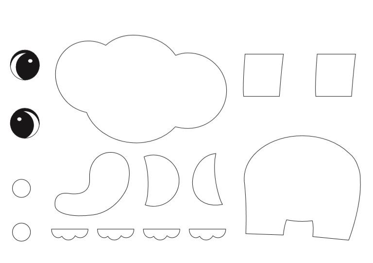 Free Printable elephant craft for kids preschoolers and toddlers Elephant Template