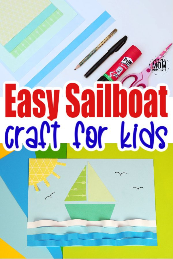 Free Printable sailboat craft for kids of all ages including preschoolers and toddlers