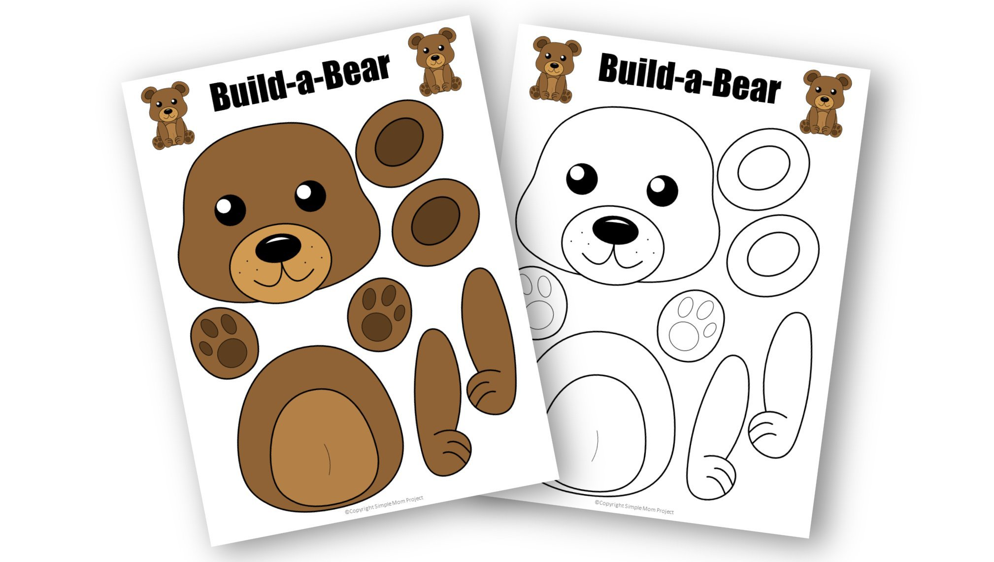 Free Printable Forest Bear Craft Template for kids, preschoolers, toddlers and kindergartners