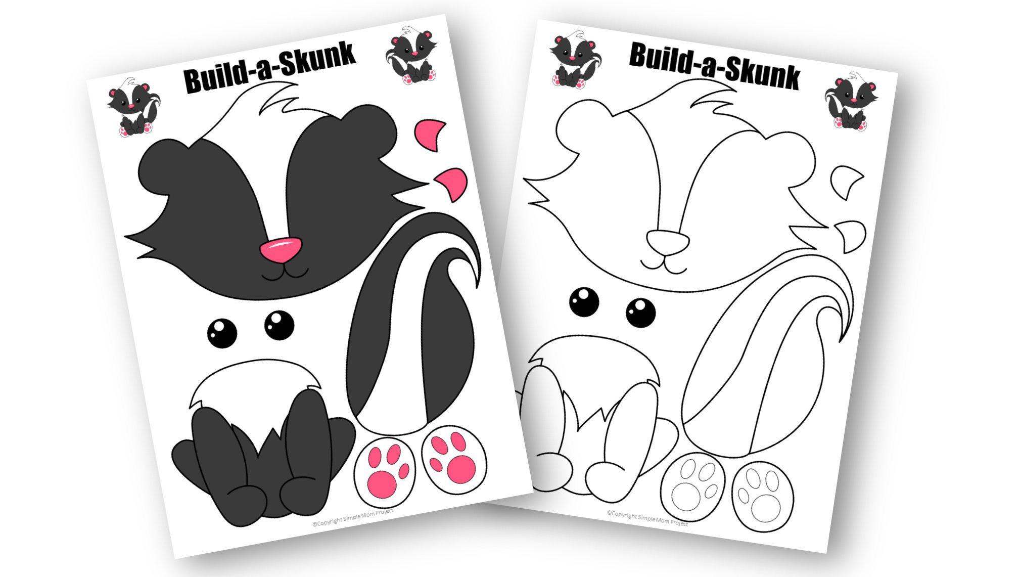 Free Printable Forest Skunk Craft Template for kids, preschoolers, toddlers and kindergartners