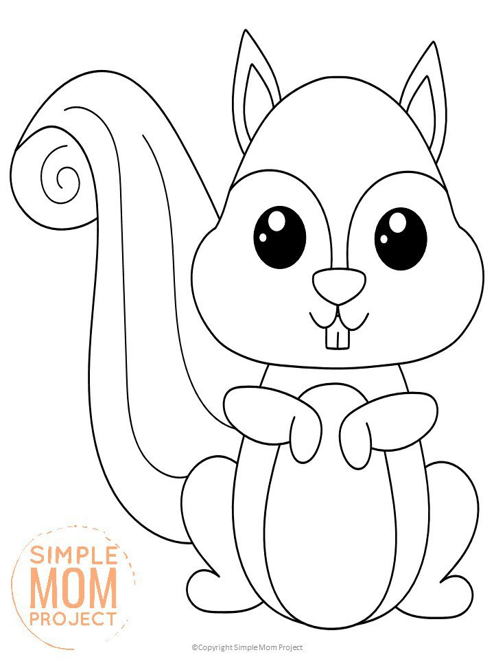 Free Printable Woodland Forest Squirrel Coloring Page for Kids Preschoolers Toddlers and kindergartners