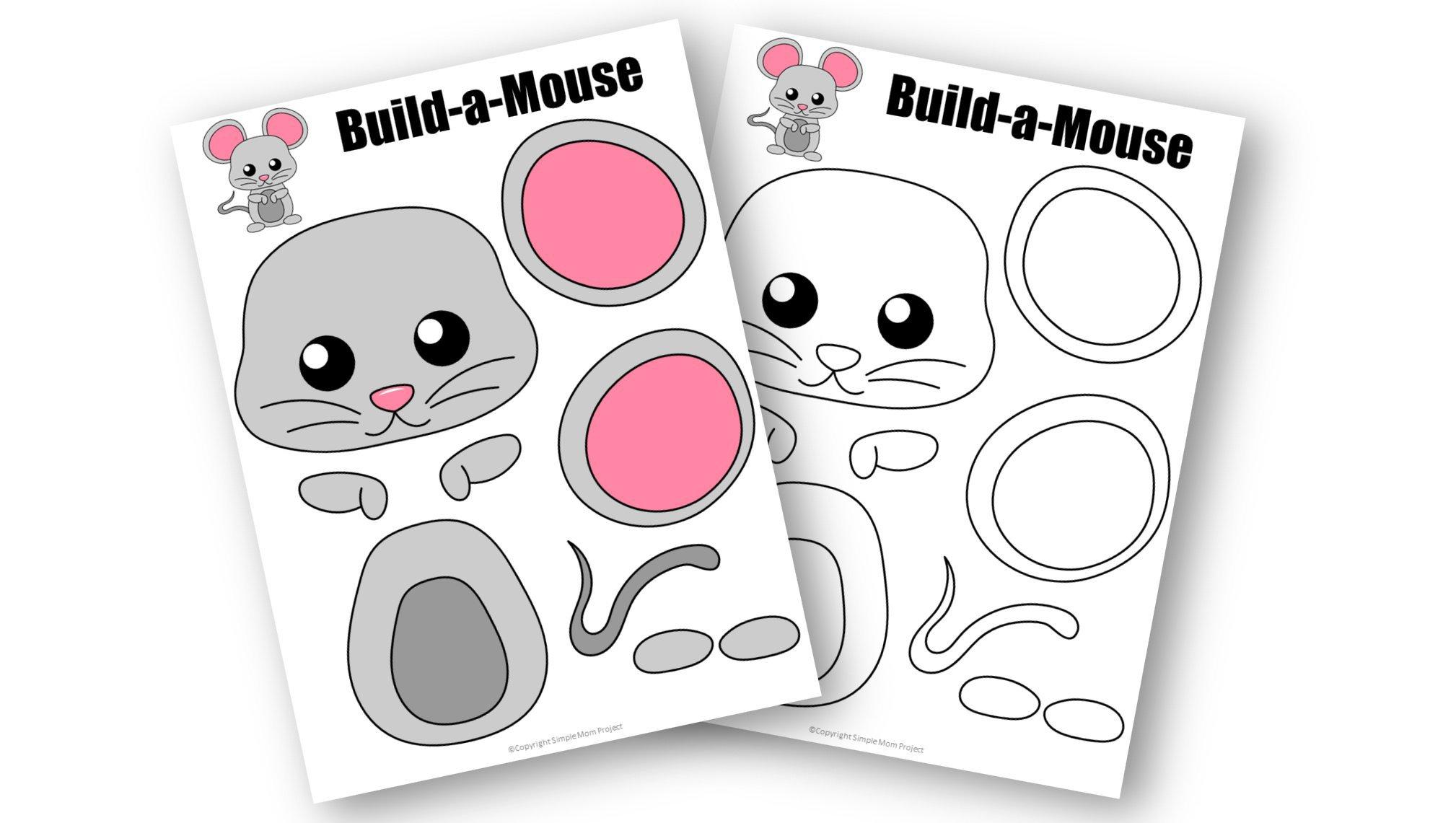 Free Printable Mouse Hedgehog Craft Template for kids, preschoolers, toddlers and kindergartners