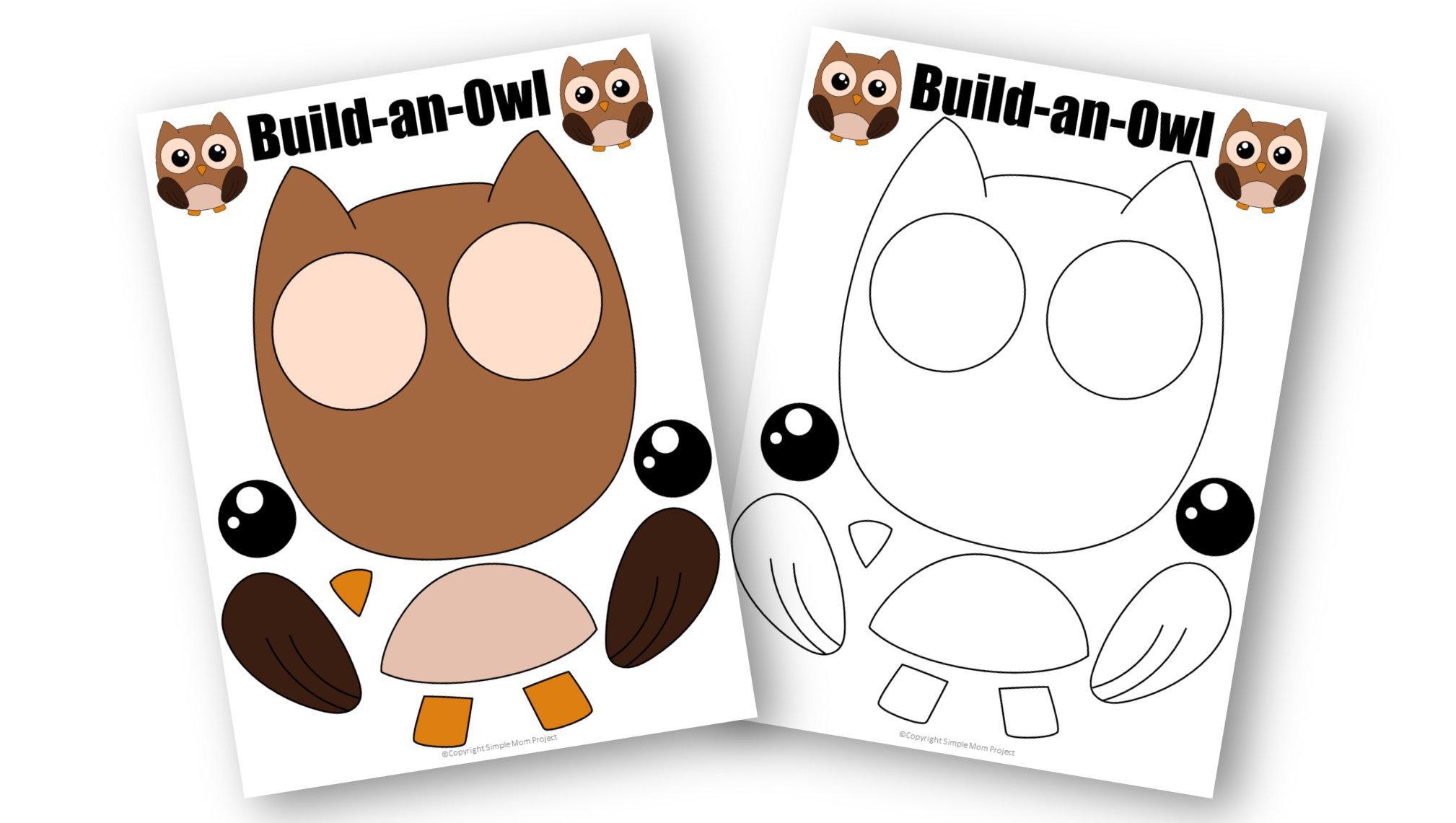 Free Printable Owl Craft Template for kids, preschoolers, toddlers and kindergartners