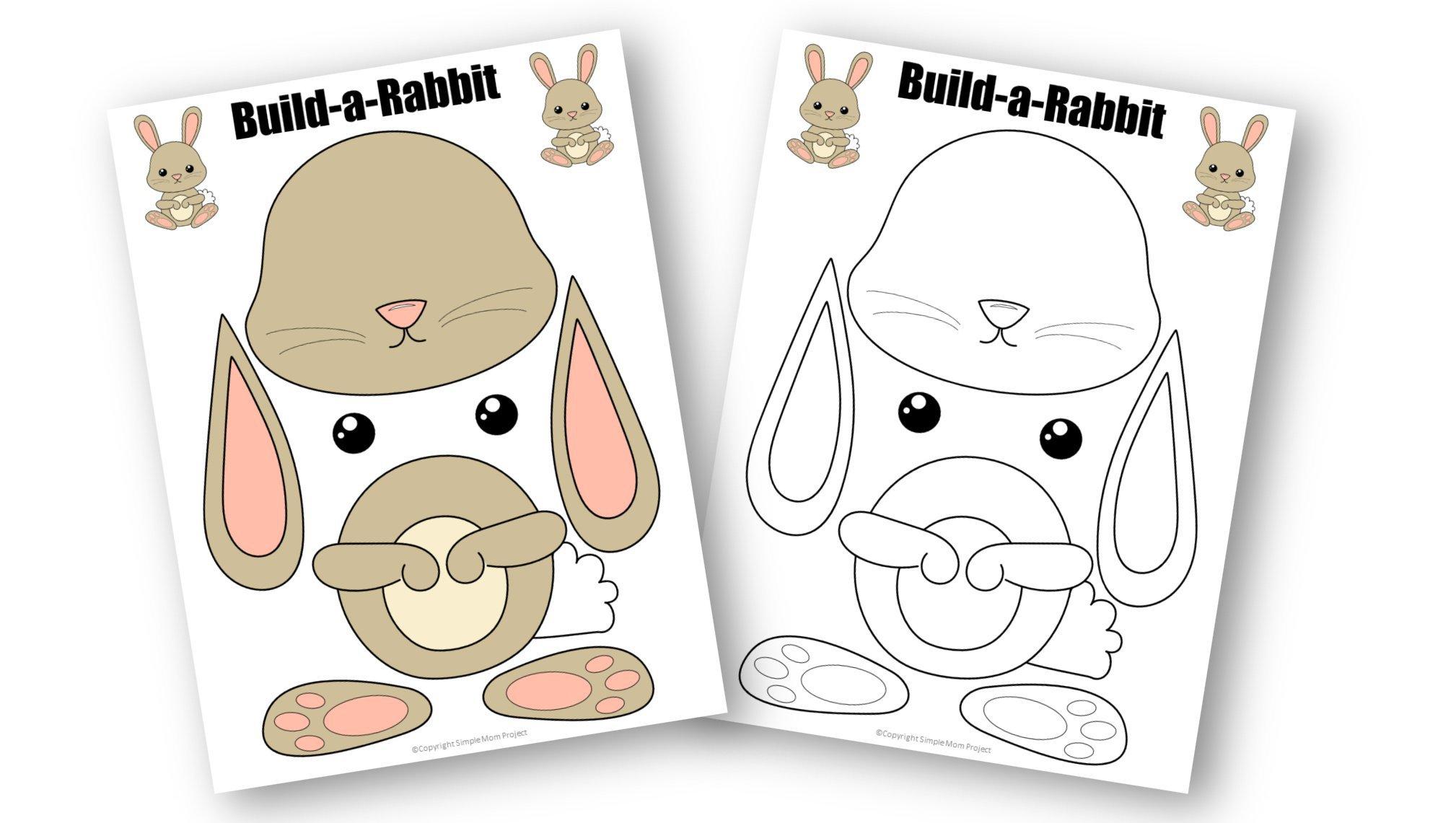 Free Printable Rabbit Craft Template for kids, preschoolers, toddlers and kindergartners