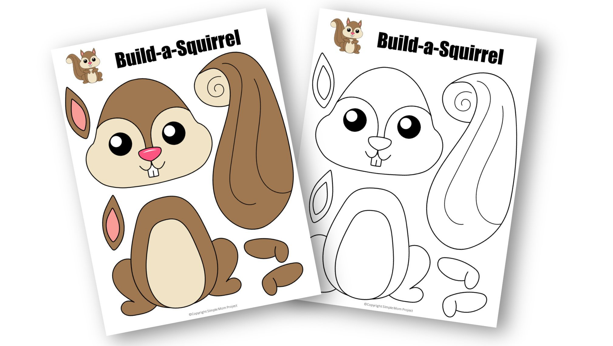 Free Printable Squirrel Craft Template for kids, preschoolers, toddlers and kindergartners