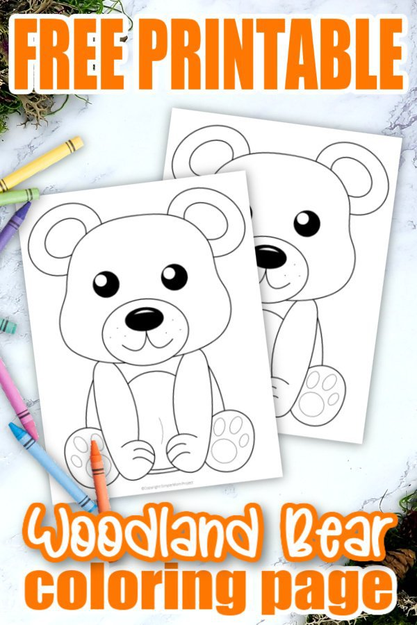 Add some fun to learning the Letter B with this free printable forest bear coloring page. Whether he's a cute bear cub or a grizzly brown bear, this adorable forest animal makes an ideal art project for toddlers and preschoolers. It's even a perfect chance to create your own three little bears, thanks to the easy outline and design. Click to get your printable bear coloring page template today! #Bearcoloringpages #Forestanimalcoloringpages #Coloringpages #Papercraftsforkids #SimpleMomProject