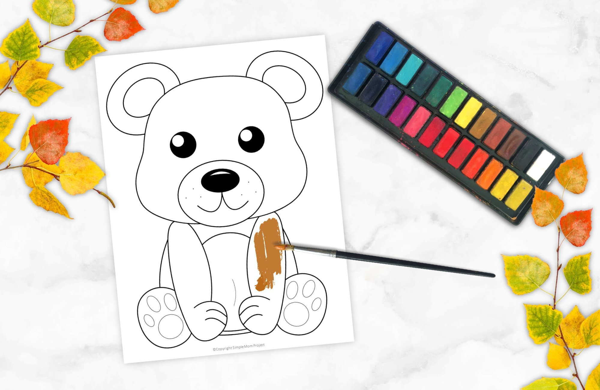 Free Printable Woodland Forest Bear Coloring Page for Kids Preschoolers Toddlers and kindergartners