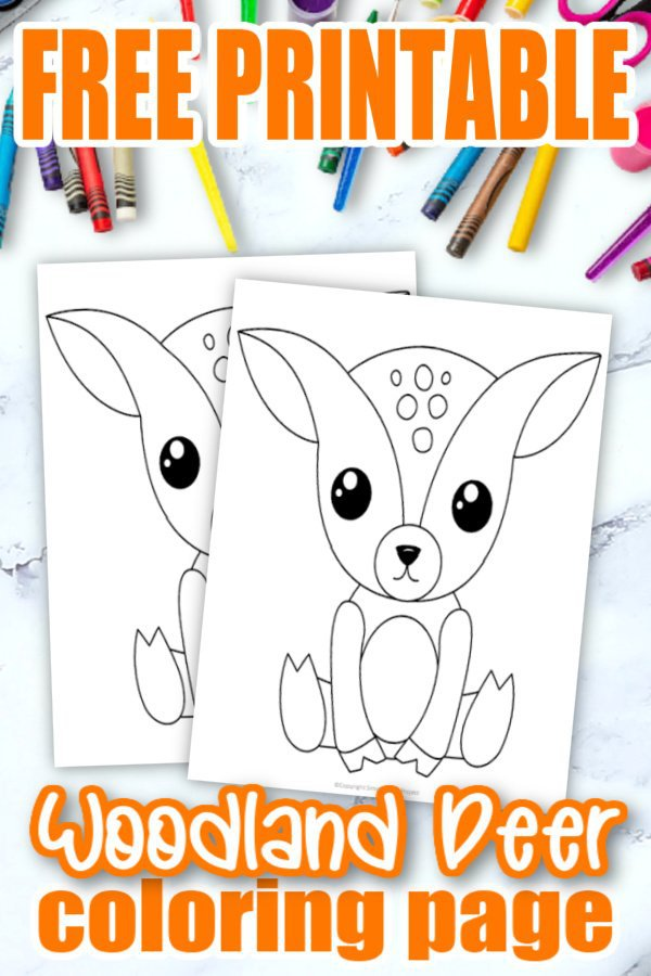 Free Printable Woodland Forest Deer Coloring Page for Kids Preschoolers Toddlers and kindergartners