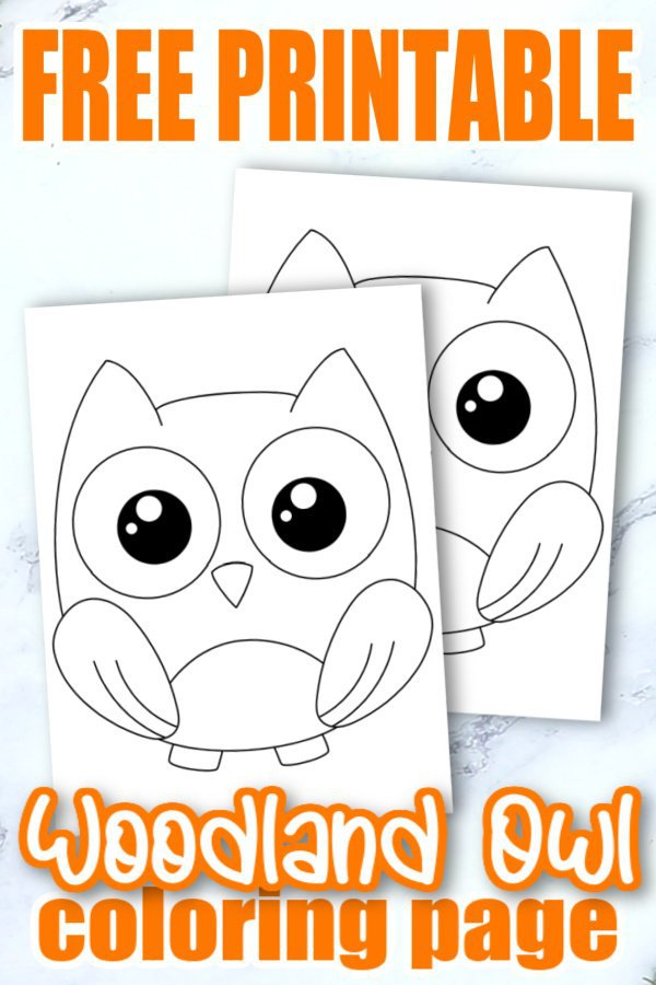 Free Printable Woodland Forest Owl Coloring Page for Kids Preschoolers Toddlers and kindergartners